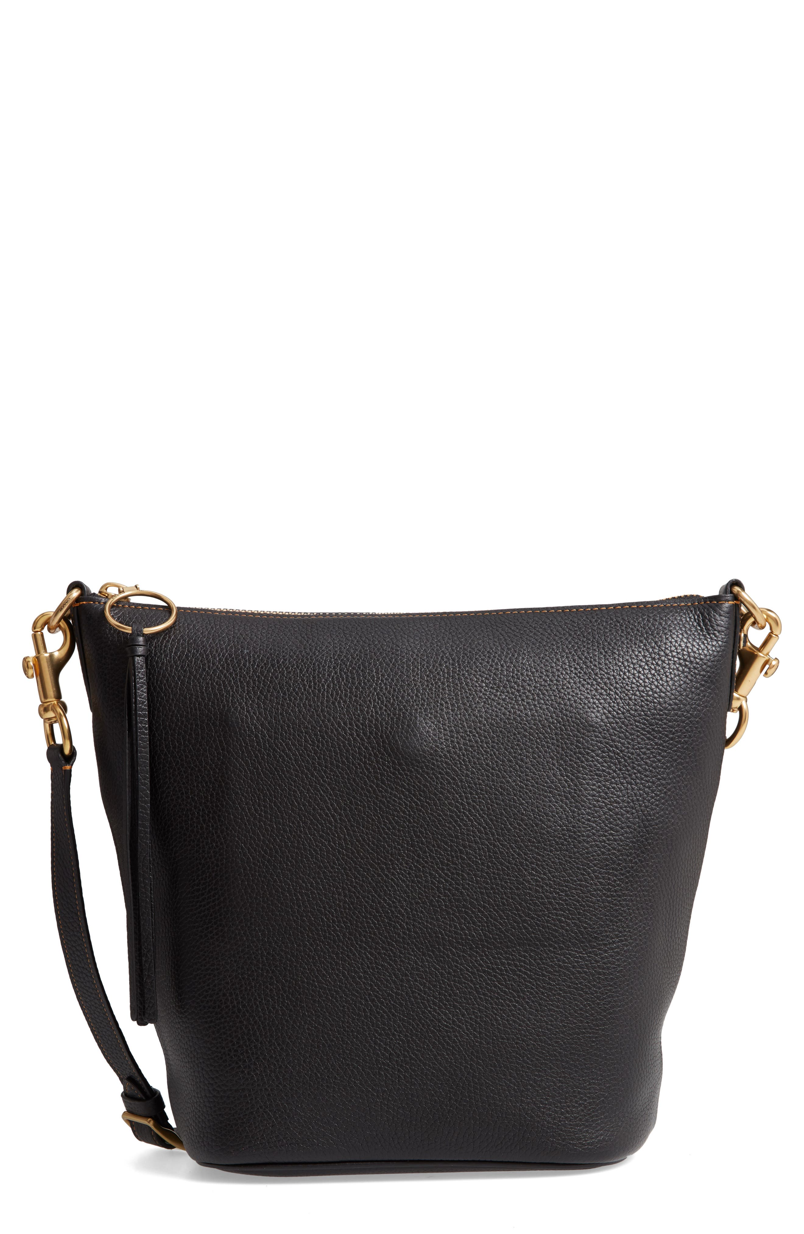 Duffle Leather Tote,                         Main,                         color, BLACK
