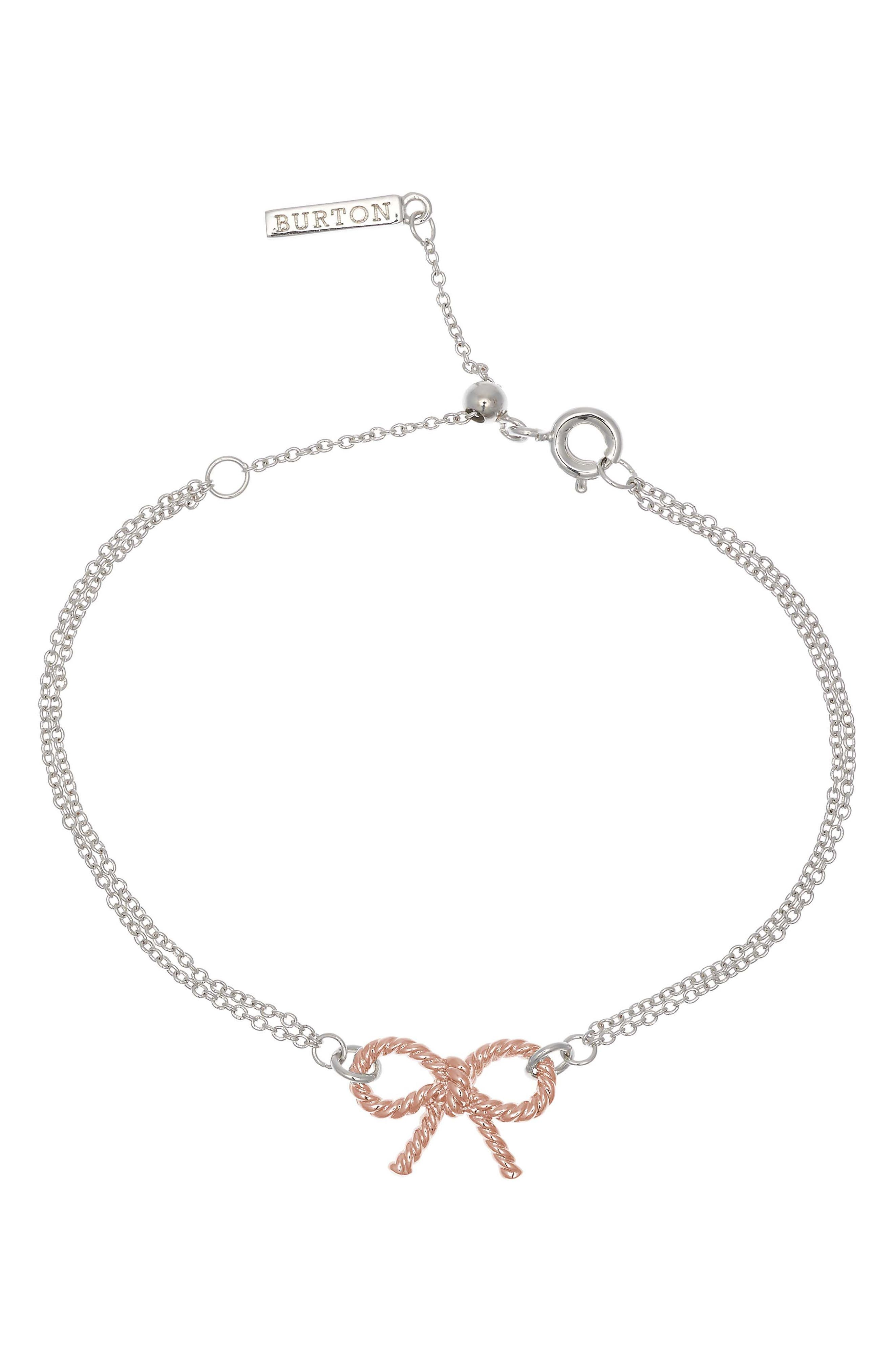 Vintage Bow Chain Bracelet,                             Main thumbnail 1, color,                             SILVER/ ROSE GOLD