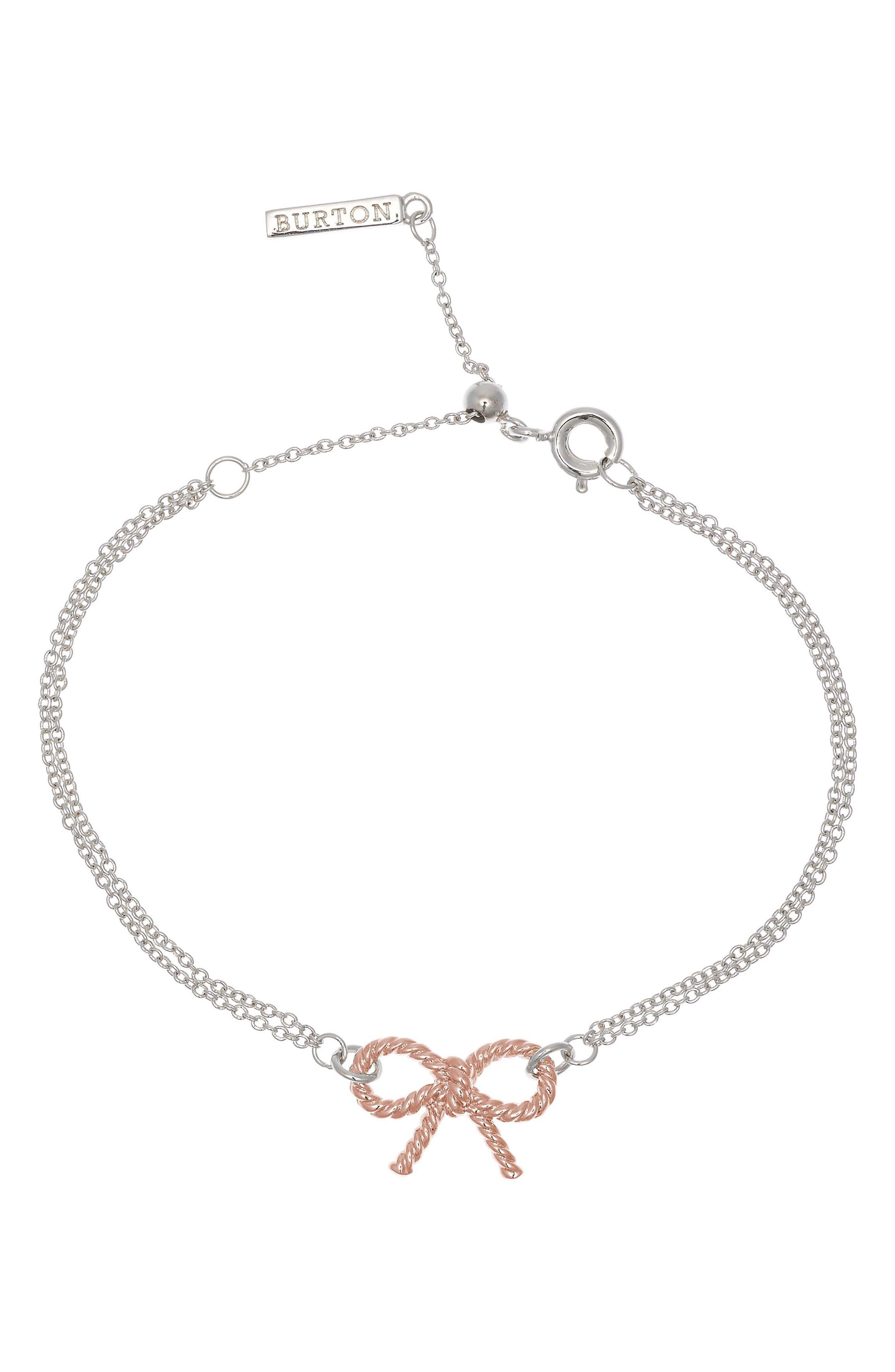 Vintage Bow Chain Bracelet,                         Main,                         color, SILVER/ ROSE GOLD