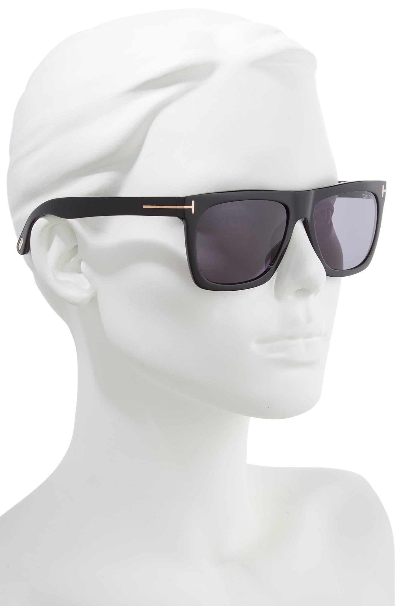 Morgan 57mm Sunglasses,                             Alternate thumbnail 2, color,                             SHINY BLACK / SMOKE