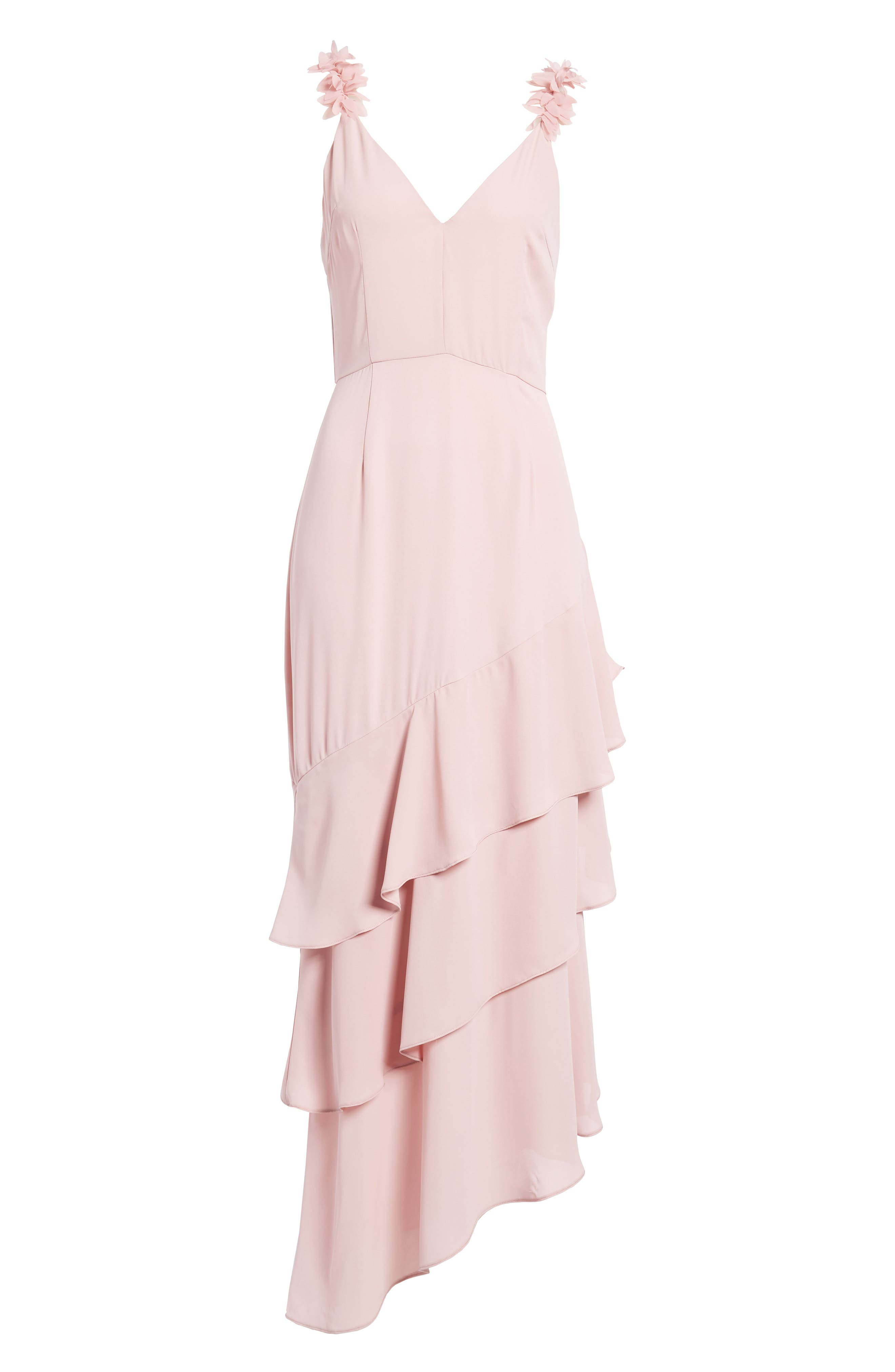 Ruffled Asymmetrical Maxi Dress,                             Alternate thumbnail 7, color,
