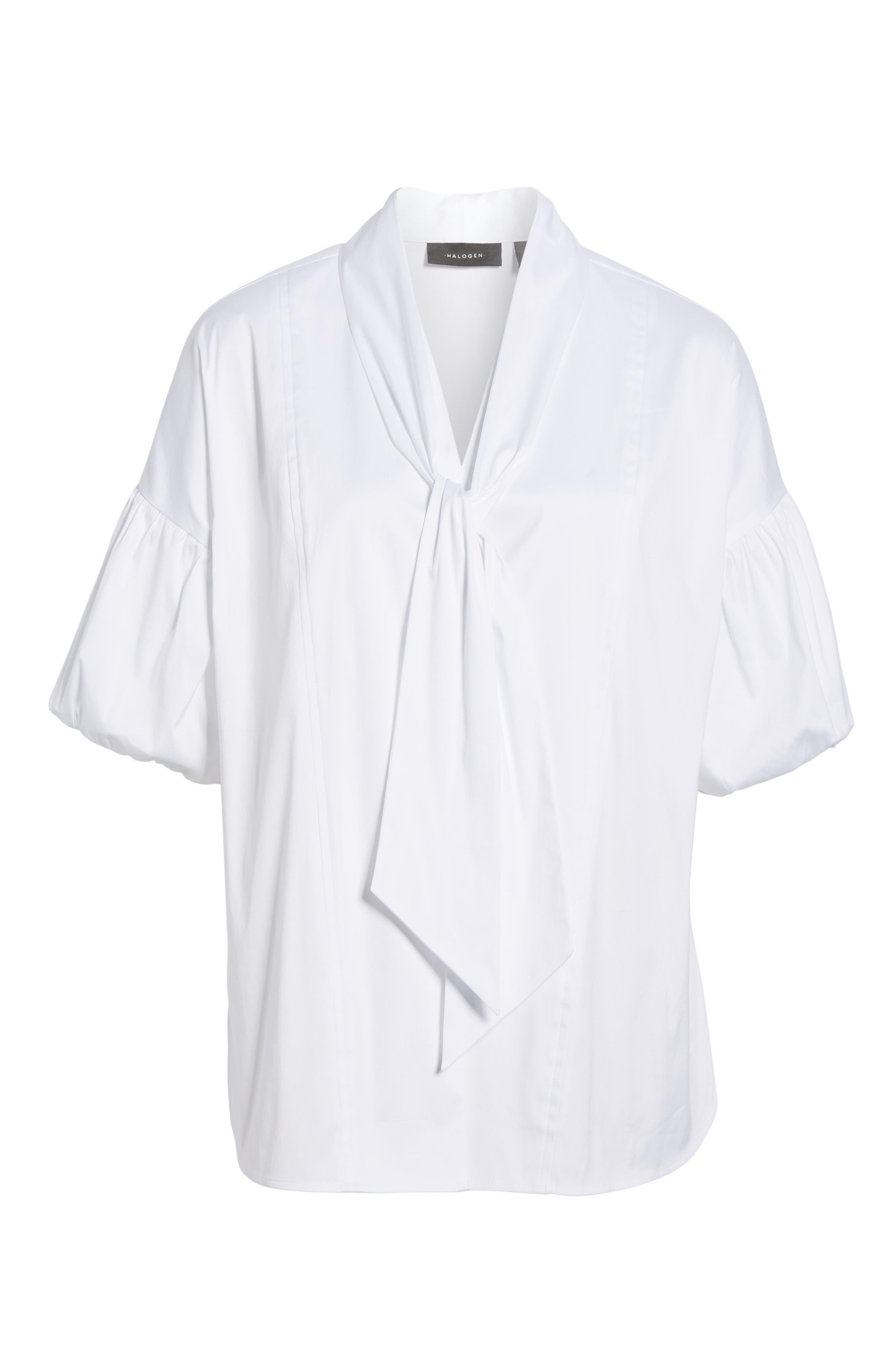 Tie Front Short Sleeve Blouse,                             Alternate thumbnail 6, color,                             100