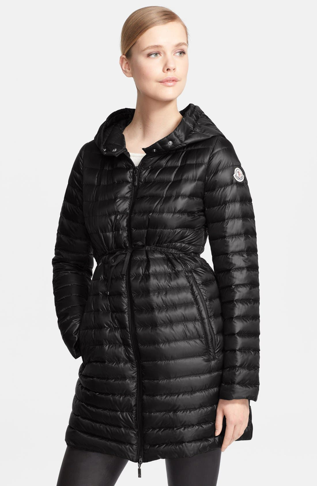 'Barbel' Belted Hooded Down Coat, Main, color, 001
