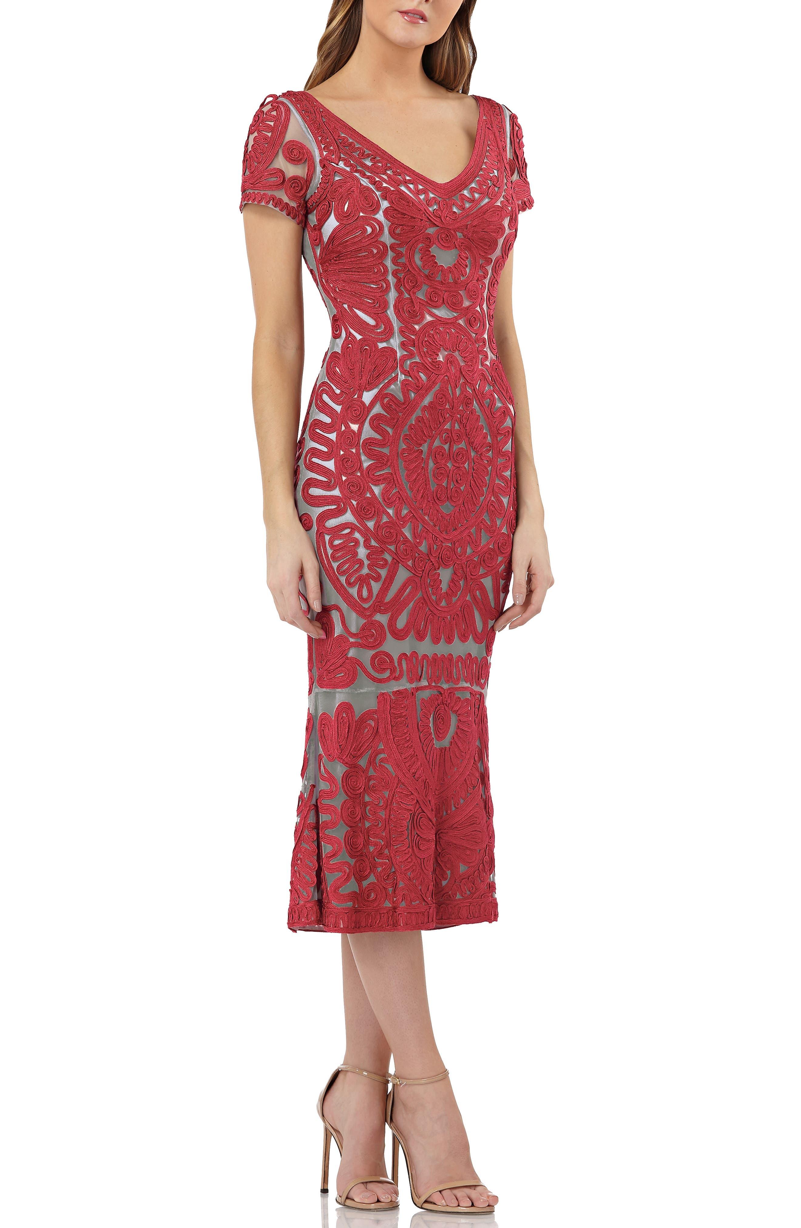 Js Collections Soutache Trumpet Dress, Red