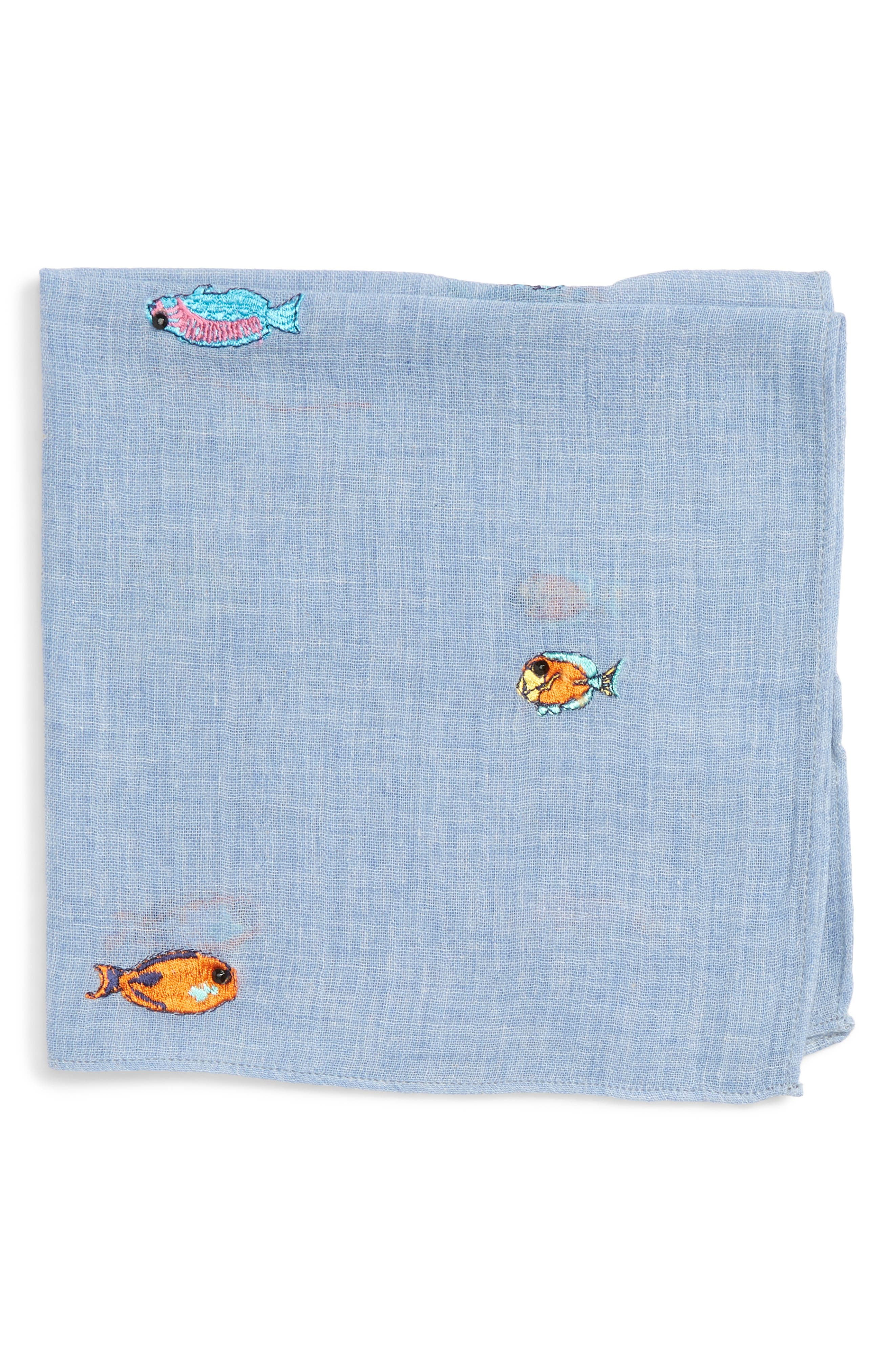 Embroidered Fish Pocket Square,                             Main thumbnail 1, color,                             424