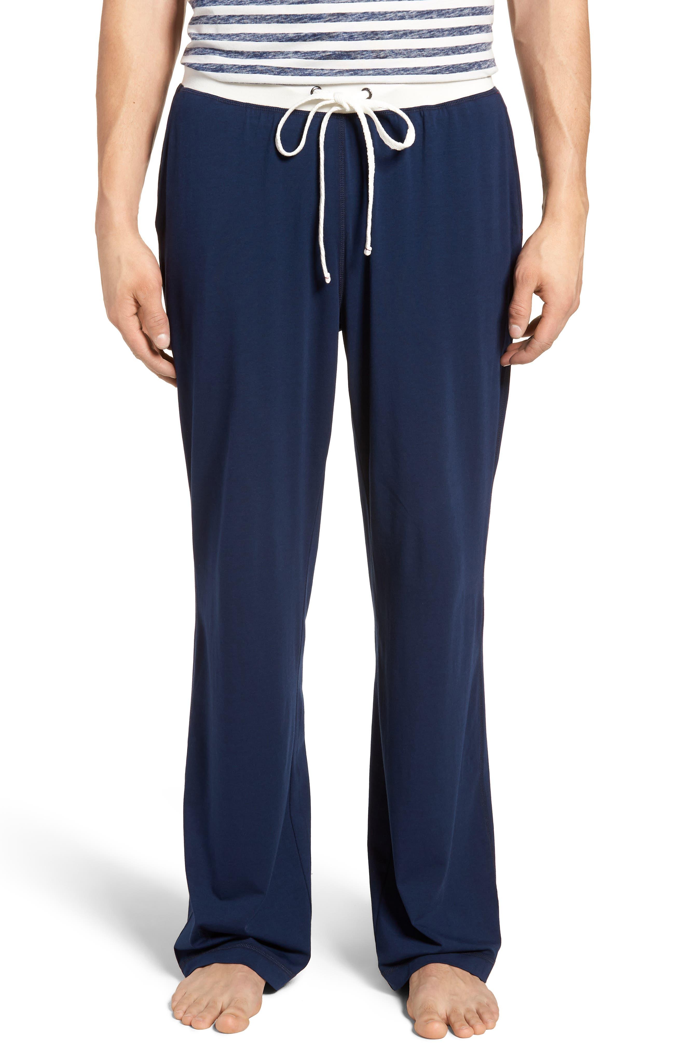 Stretch Cotton & Modal Blend Lounge Pants,                             Main thumbnail 1, color,                             NAVY