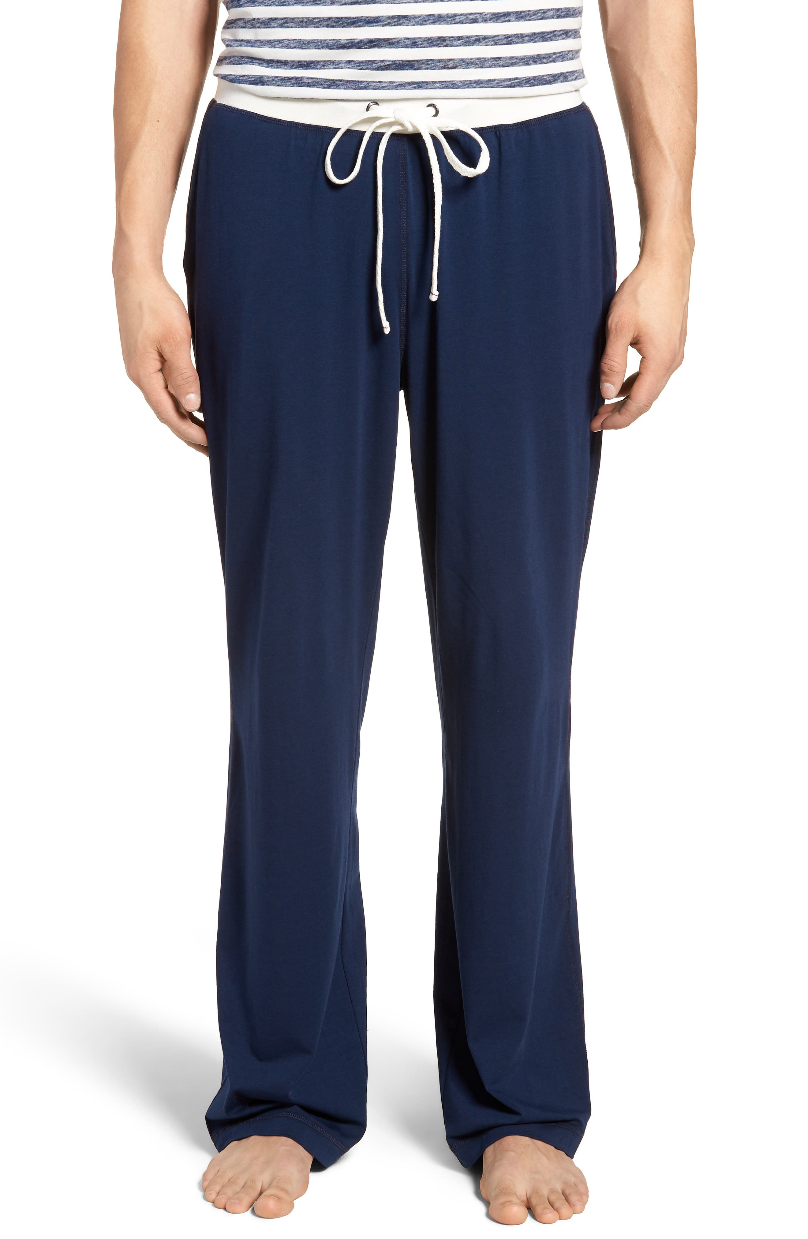 Stretch Cotton & Modal Blend Lounge Pants,                         Main,                         color, NAVY