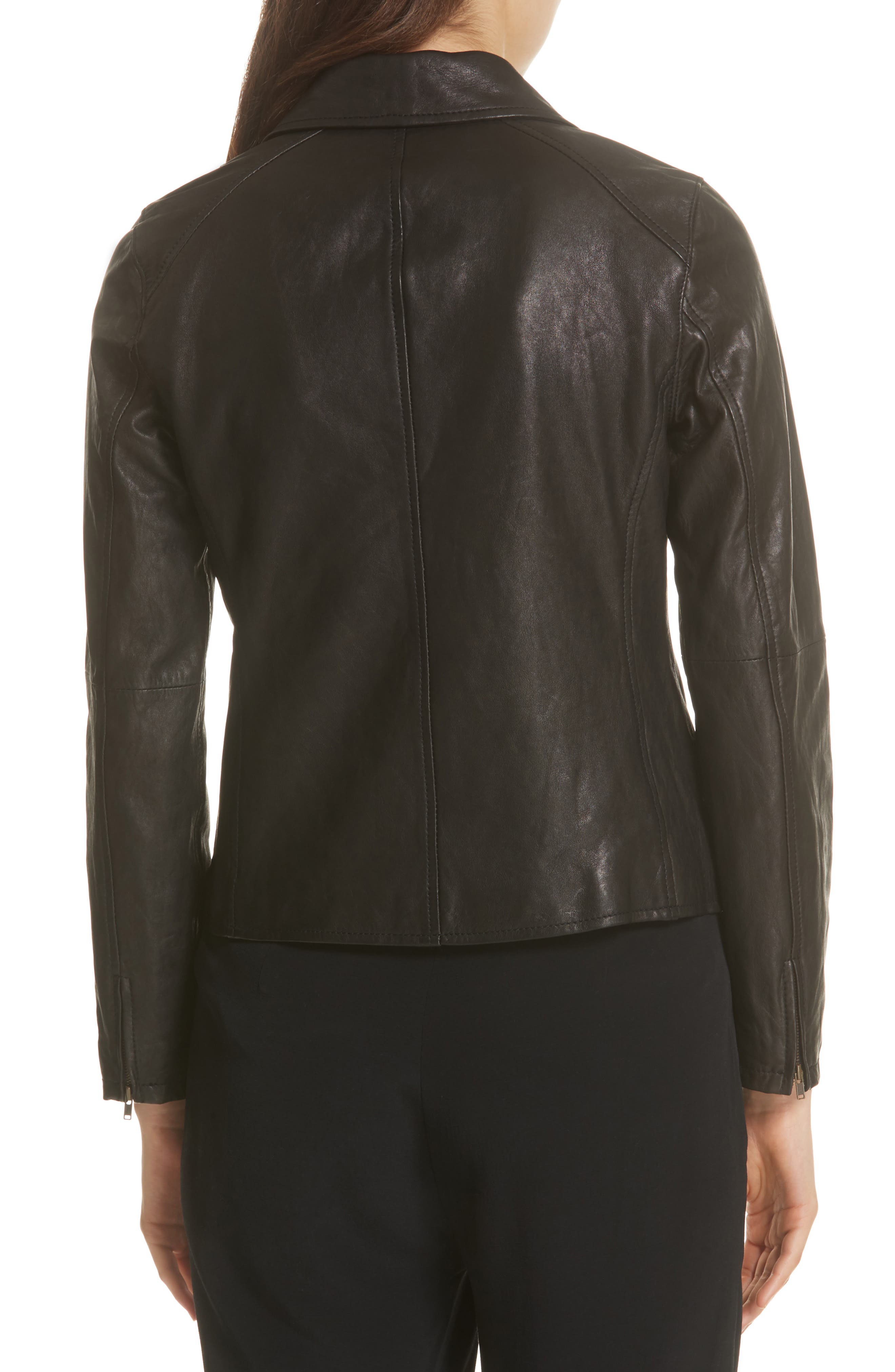 EILEEN FISHER,                             Leather Moto Jacket,                             Alternate thumbnail 2, color,                             001