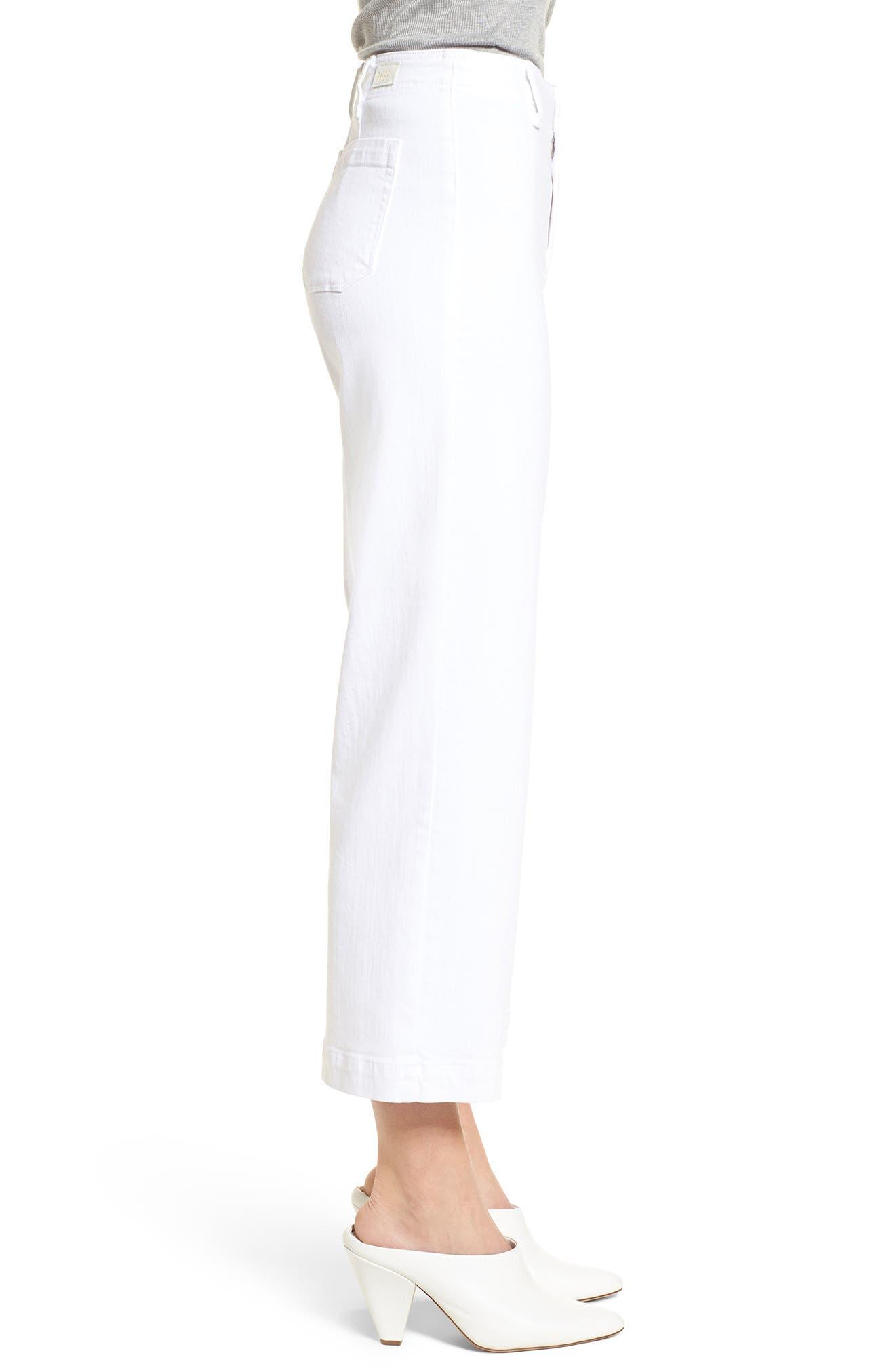 Nellie Clean Front Culotte Jeans,                             Alternate thumbnail 3, color,                             CRISP WHITE