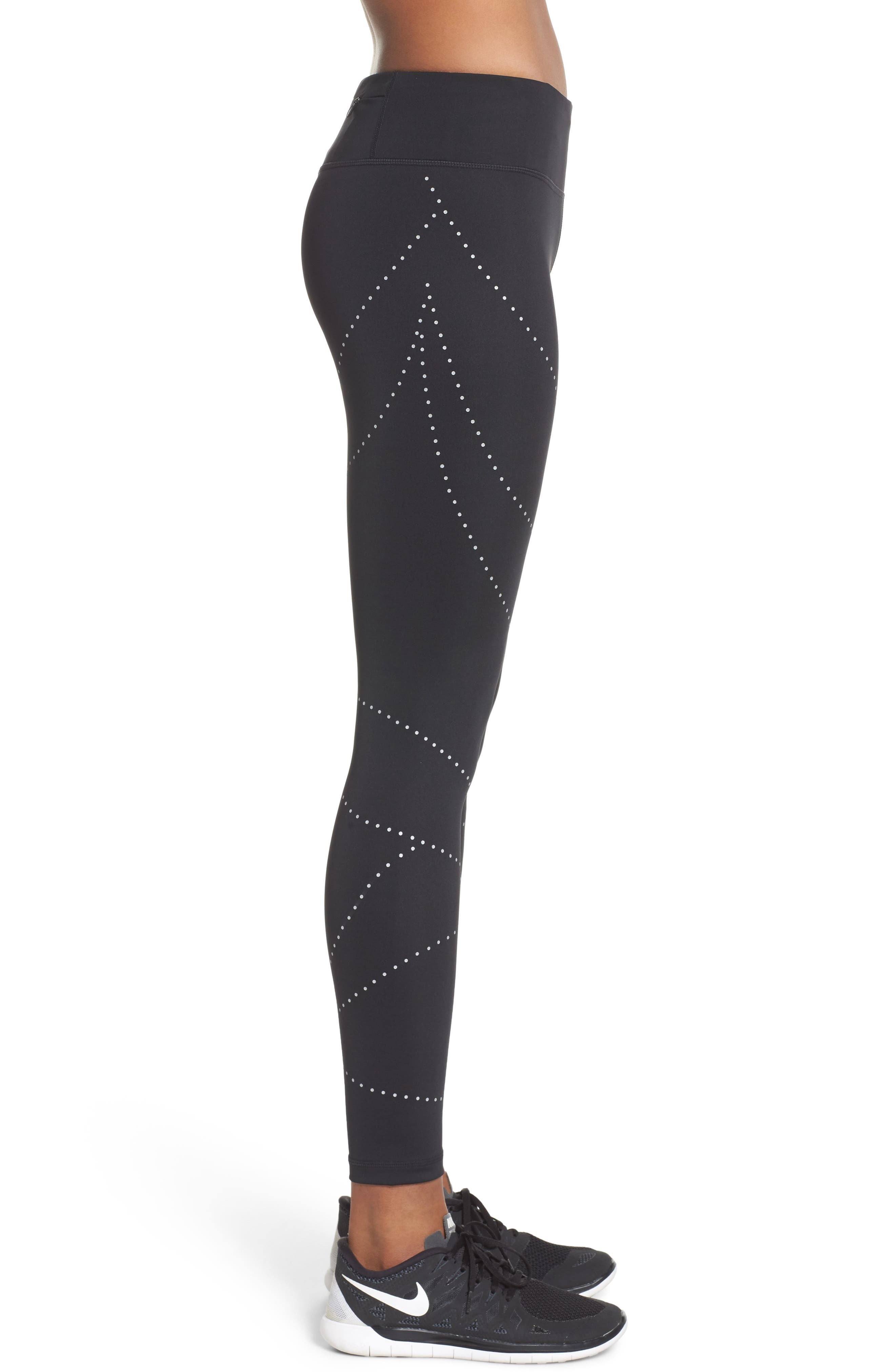 Aero Reflect Run Ankle Leggings,                             Alternate thumbnail 3, color,                             001