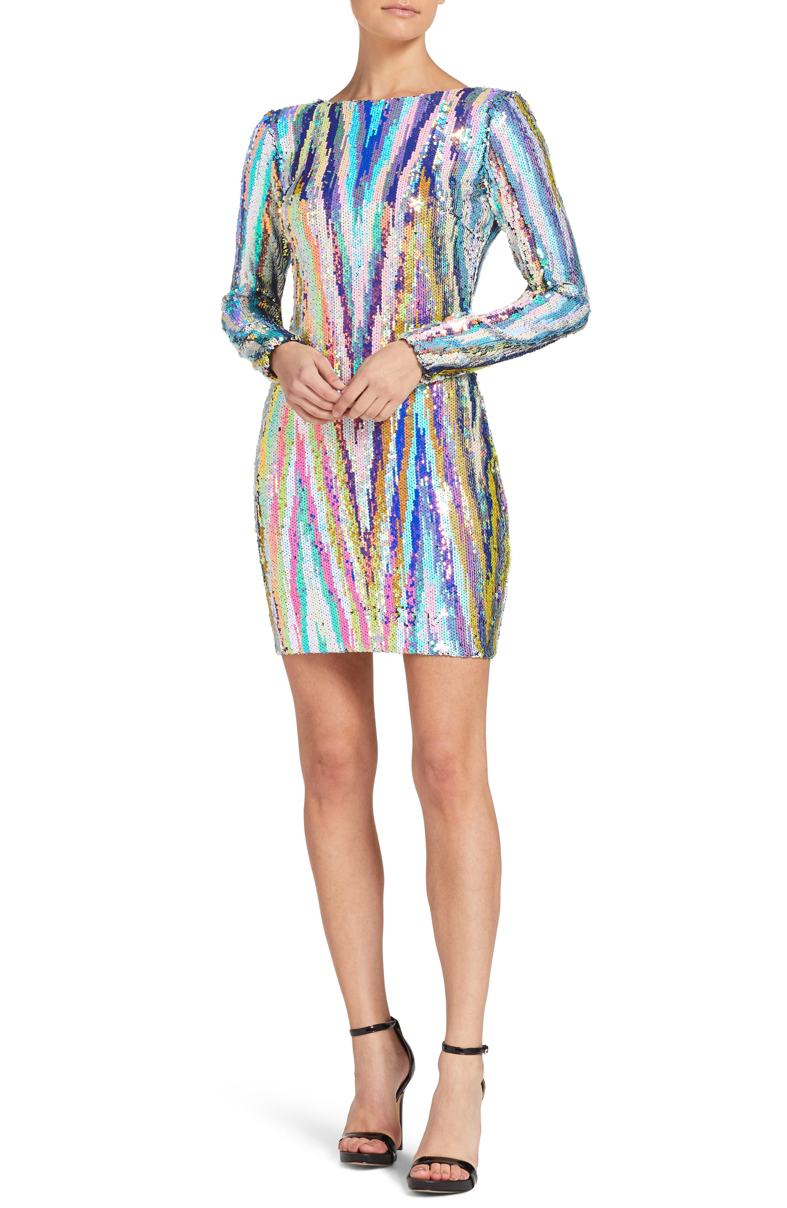Lola Sequin Body-Con Dress, Main, color, OPAL MULTI