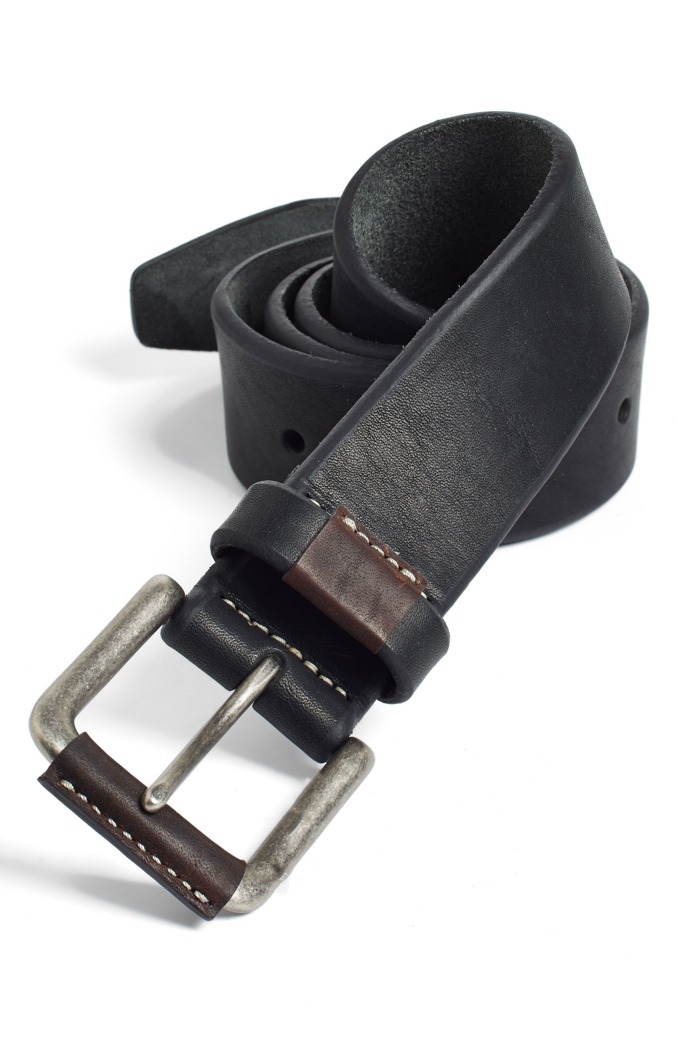 Leather Belt,                             Alternate thumbnail 4, color,                             BLACK