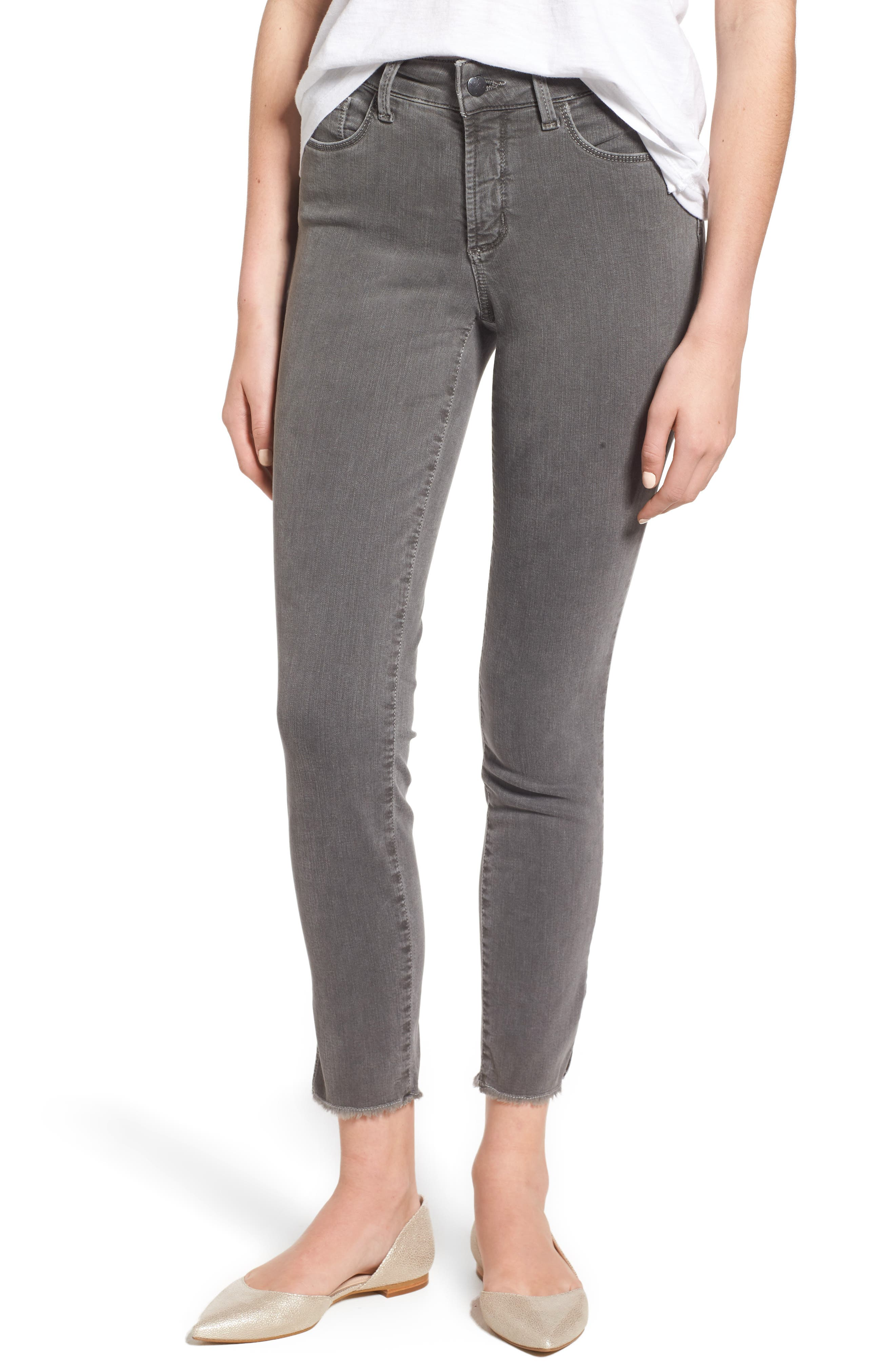 Ami Frayed Hem Stretch Skinny Ankle Jeans,                             Main thumbnail 1, color,                             038