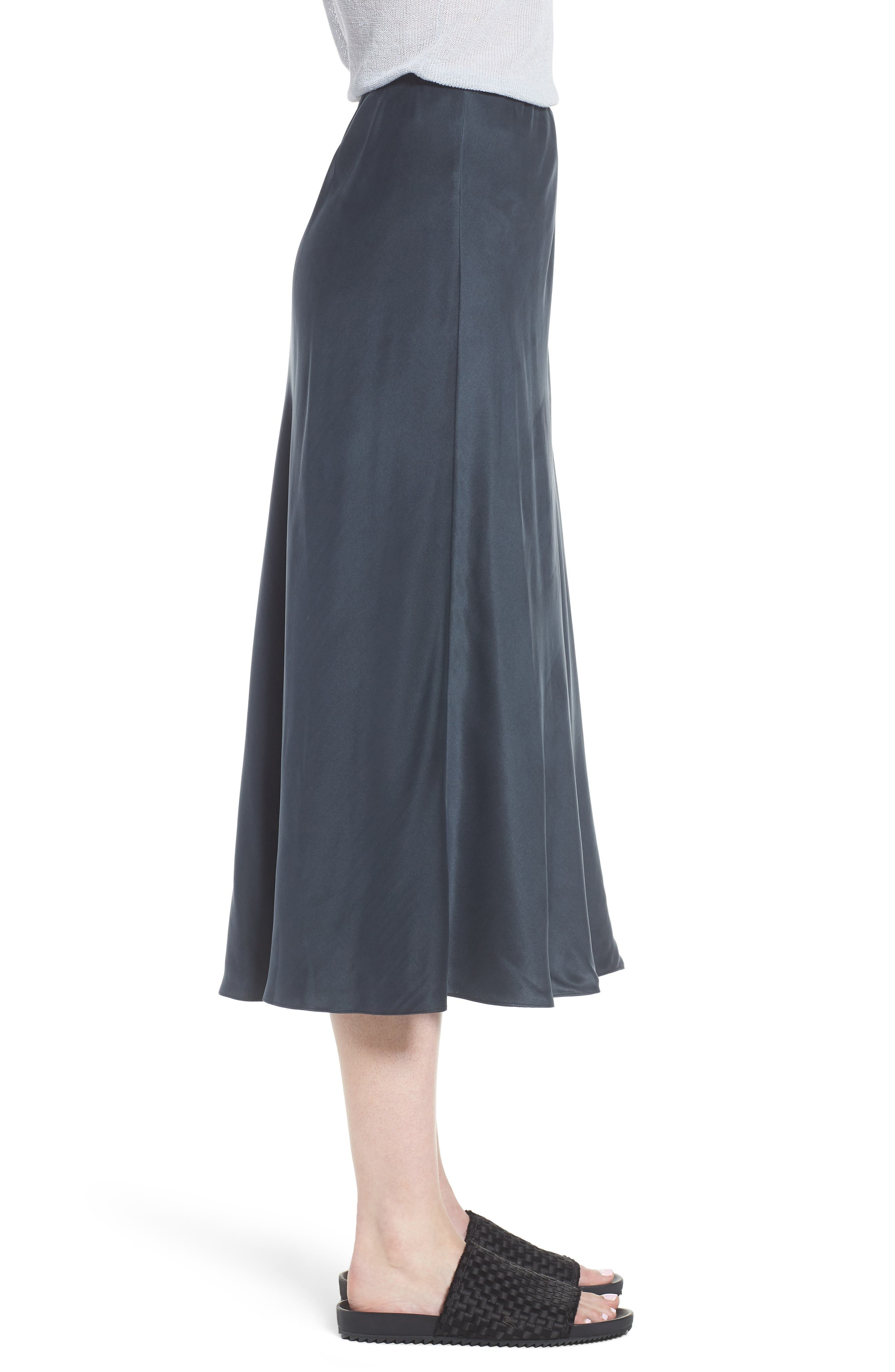 Bias Cut Silk Skirt,                             Alternate thumbnail 3, color,                             025