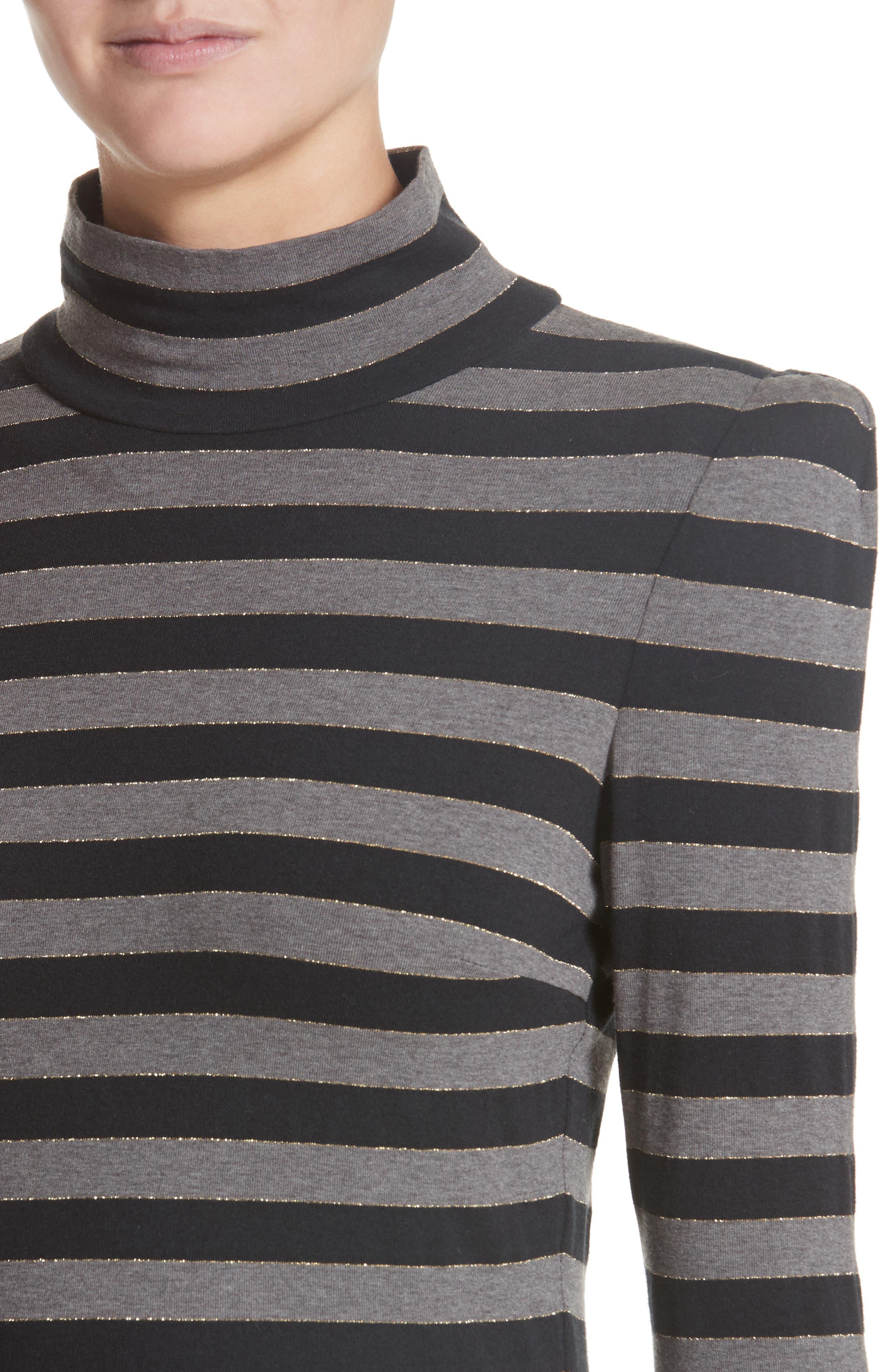 Stripe Jersey Fit & Flare Dress,                             Alternate thumbnail 4, color,                             060