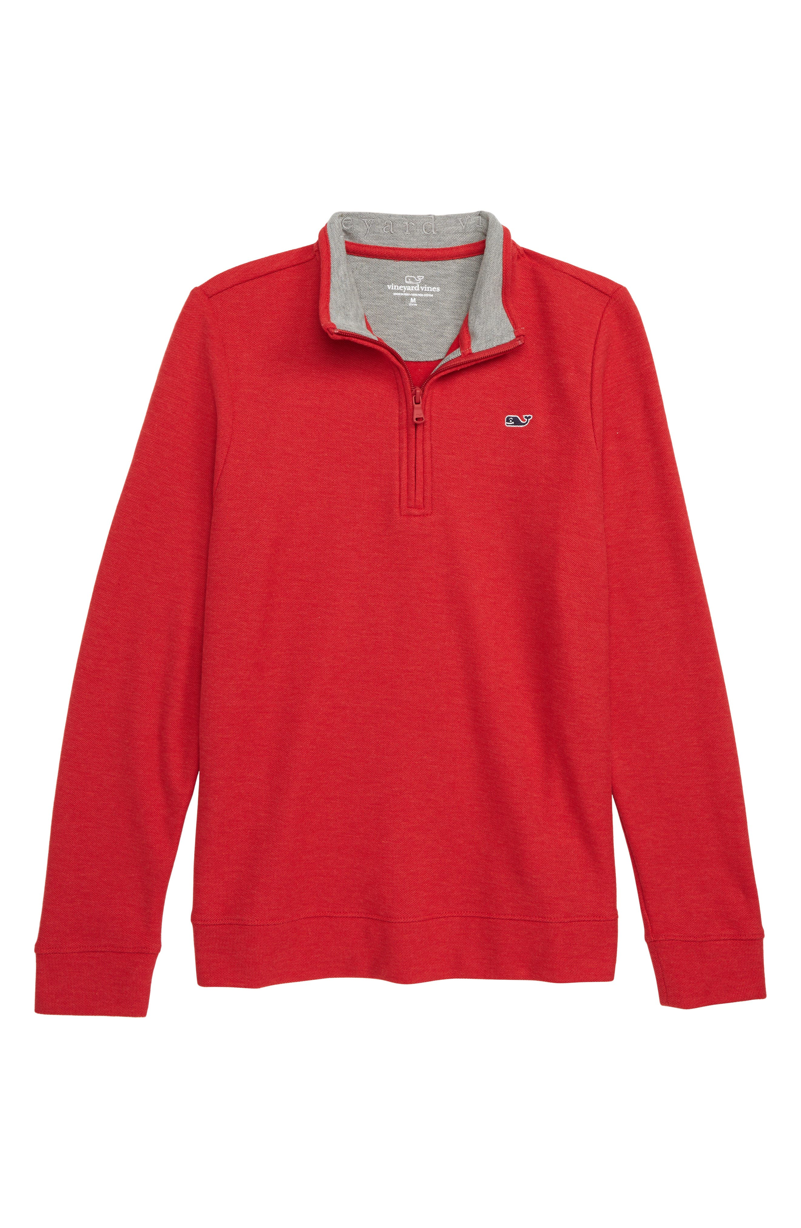 Quarter Zip Sweater,                             Main thumbnail 1, color,                             CALYPSO RED