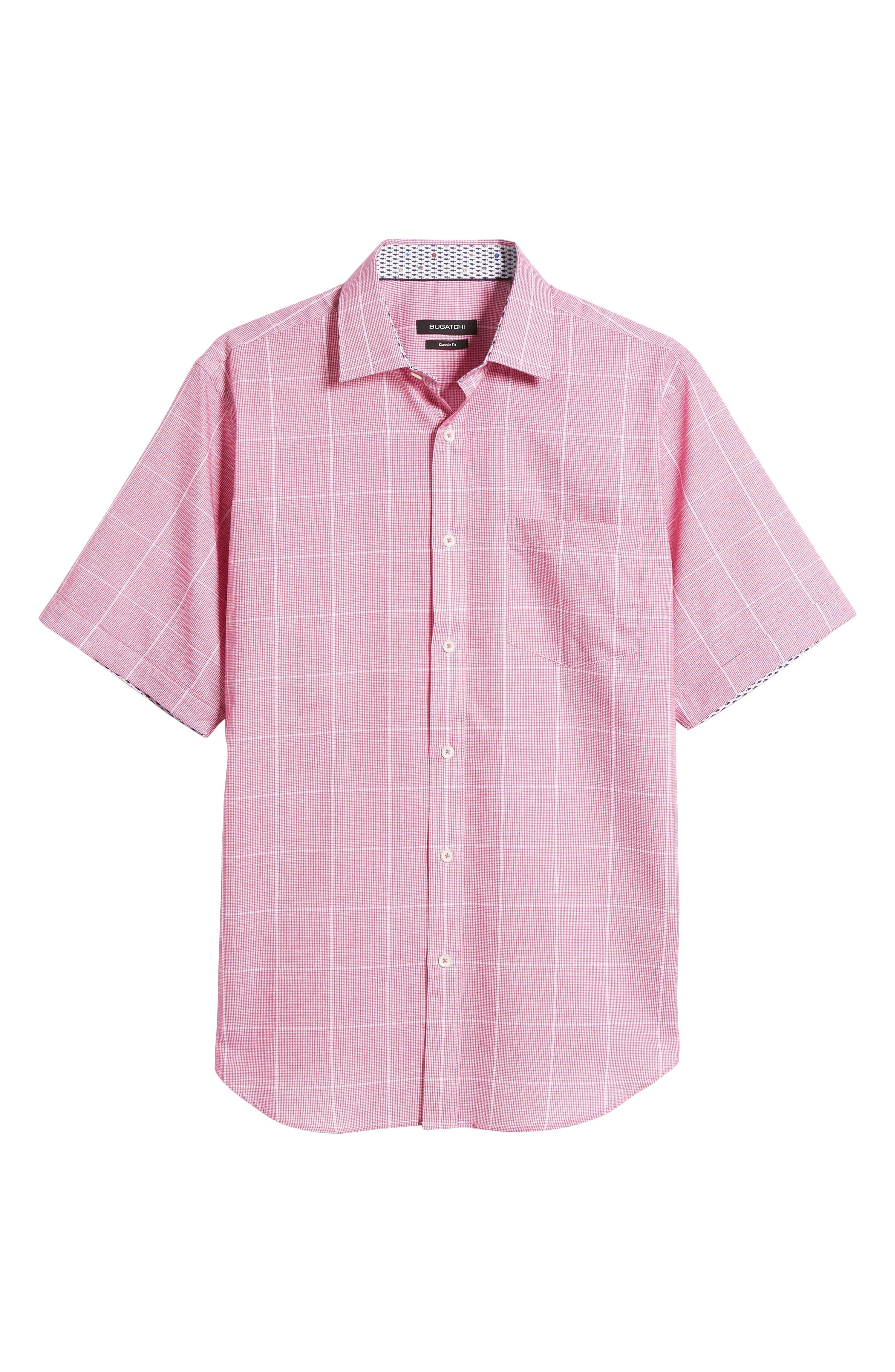 Classic Fit Check Sport Shirt,                             Alternate thumbnail 6, color,                             BERRY