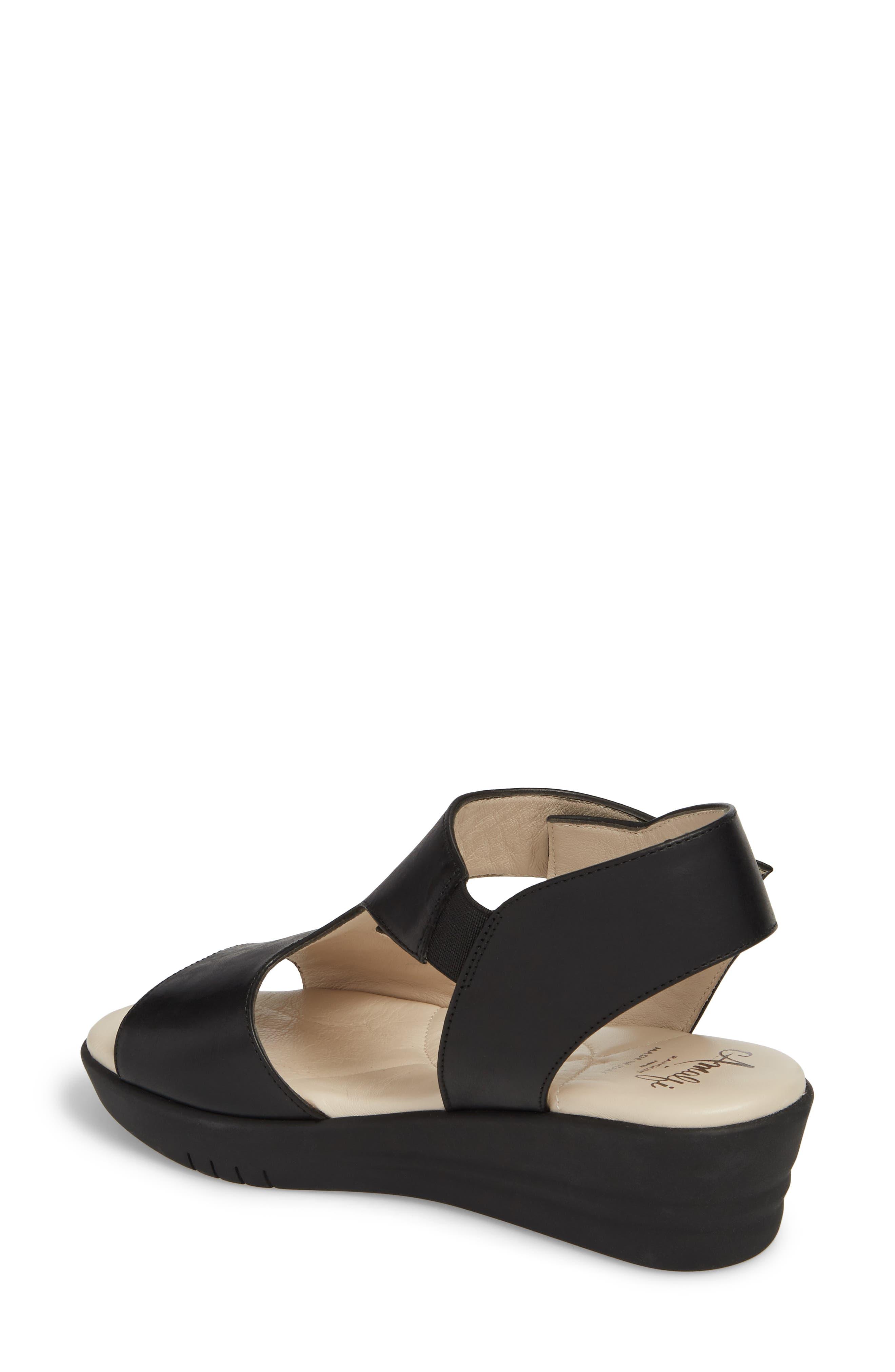 Gabby Platform Sandal,                             Alternate thumbnail 2, color,                             BLACK LEATHER