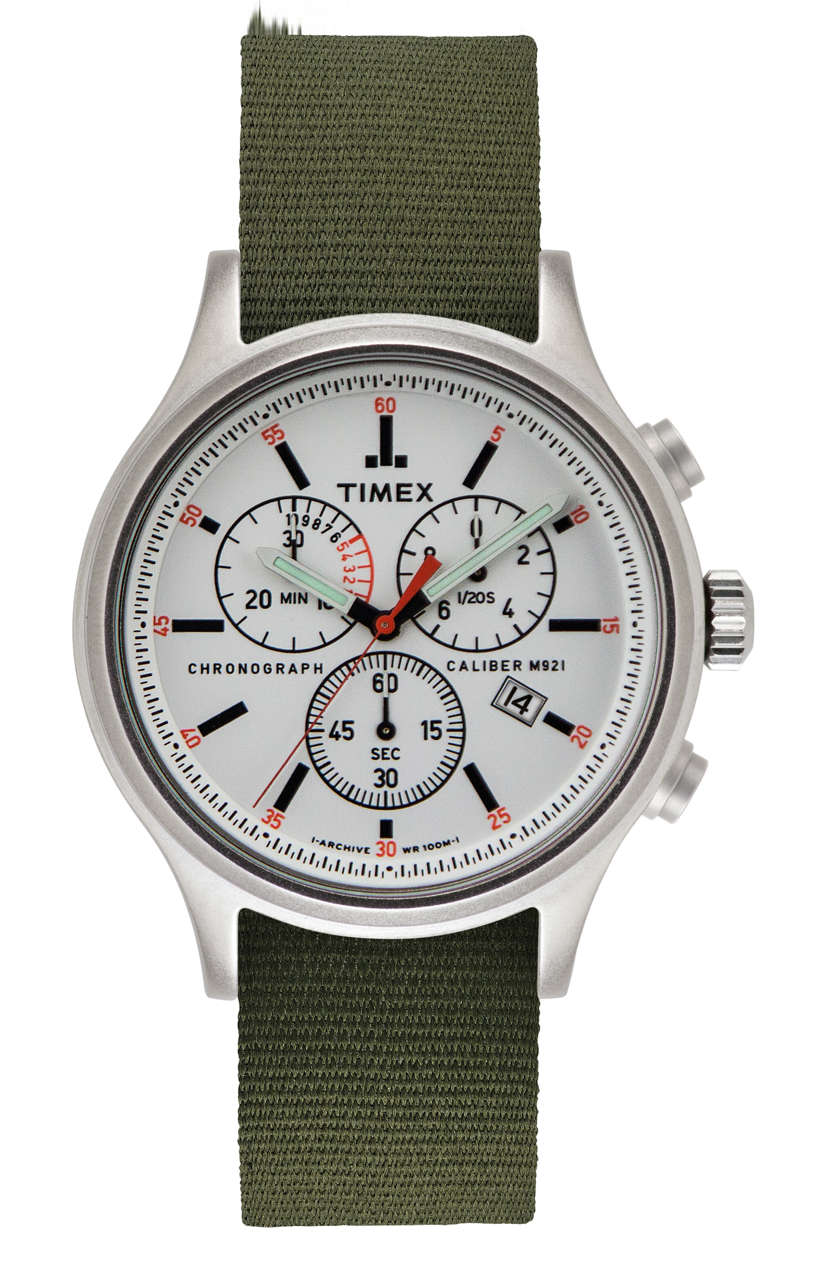 Allied Chronograph Reversible Strap Watch, 42mm,                         Main,                         color, SILVER/ WHITE/ GREEN