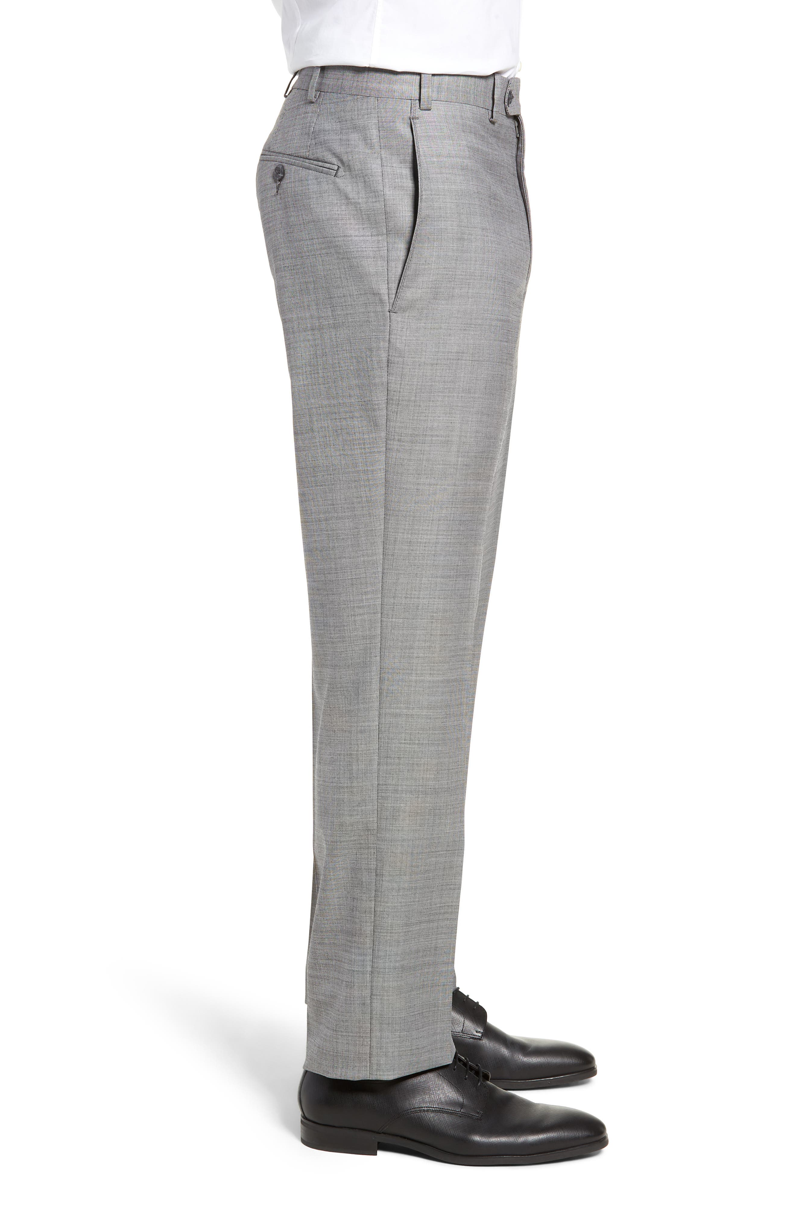 Traditional Fit Flat Front Solid Wool Trousers,                             Alternate thumbnail 3, color,                             GREY PEARL
