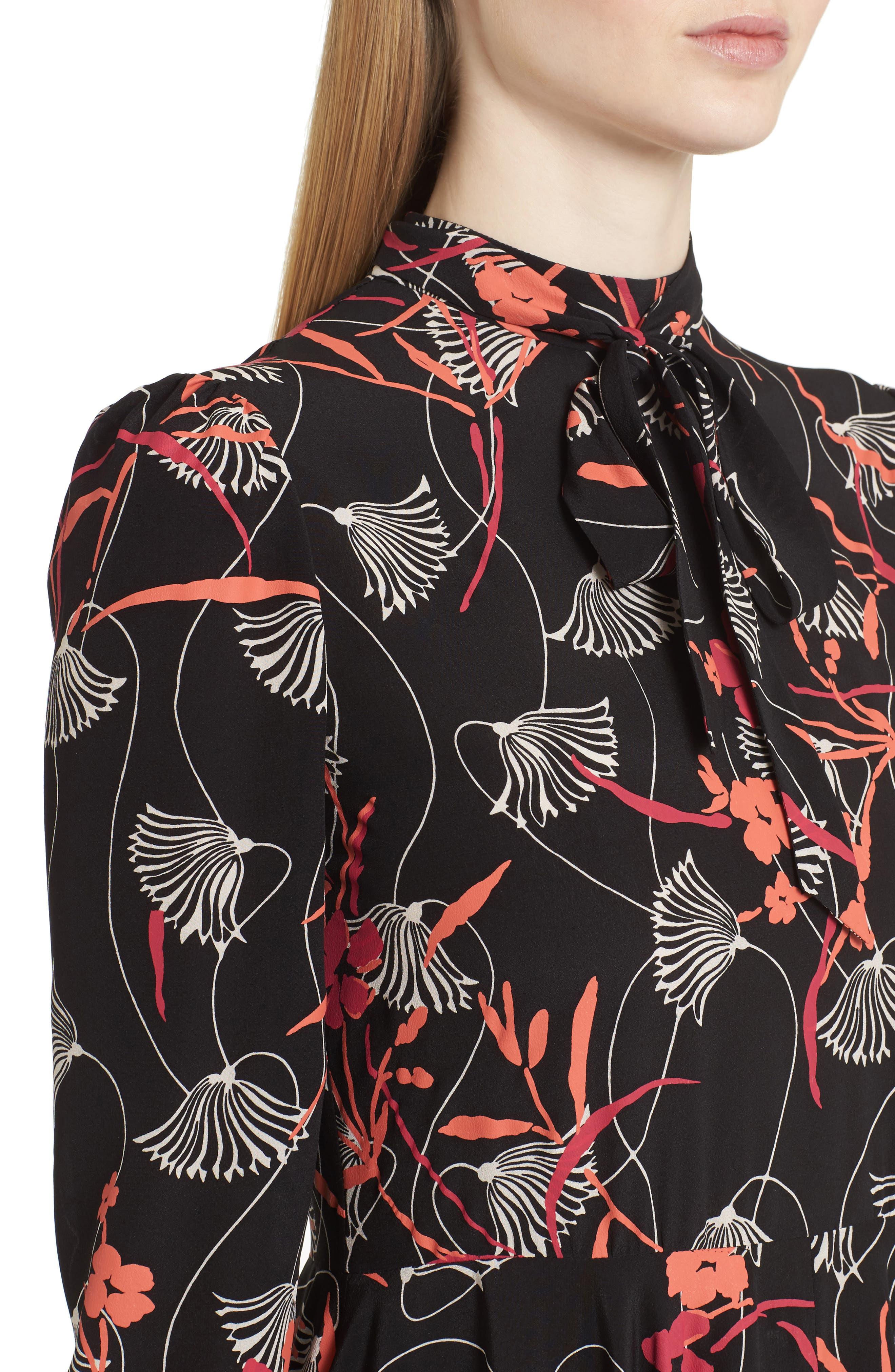 Lotus Print Tie Neck Dress,                             Alternate thumbnail 4, color,                             001