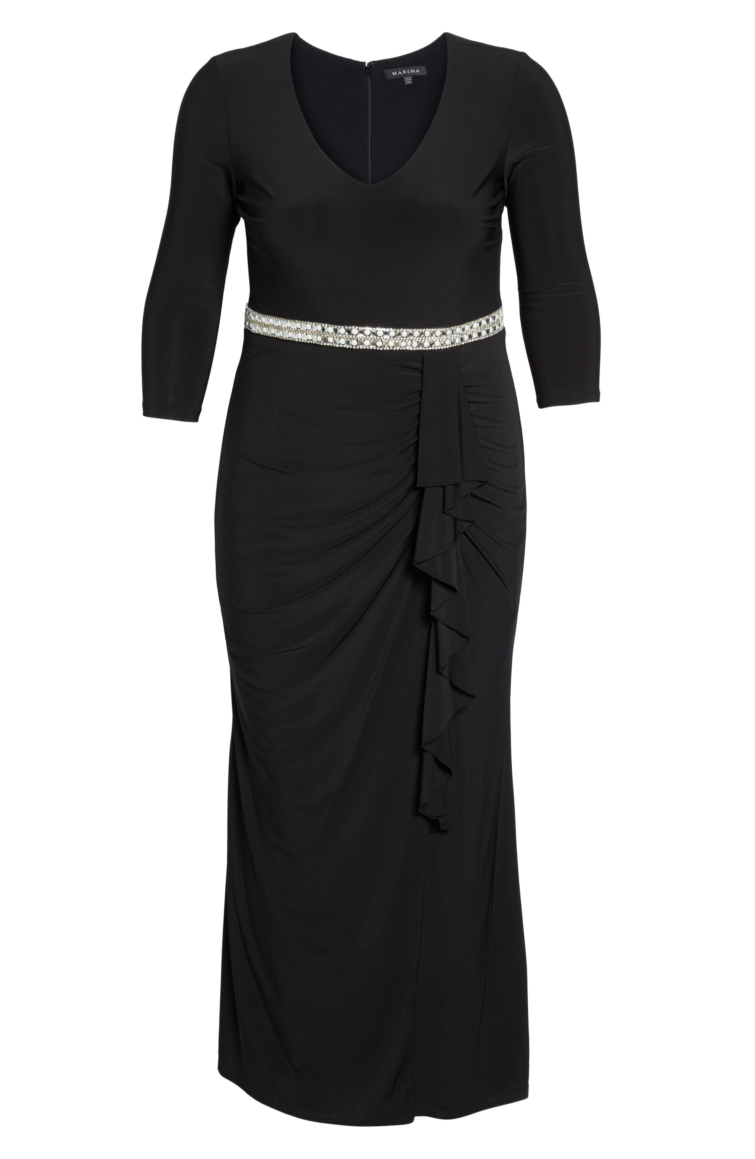 Embellished A-Line Jersey Gown,                             Alternate thumbnail 6, color,                             BLACK
