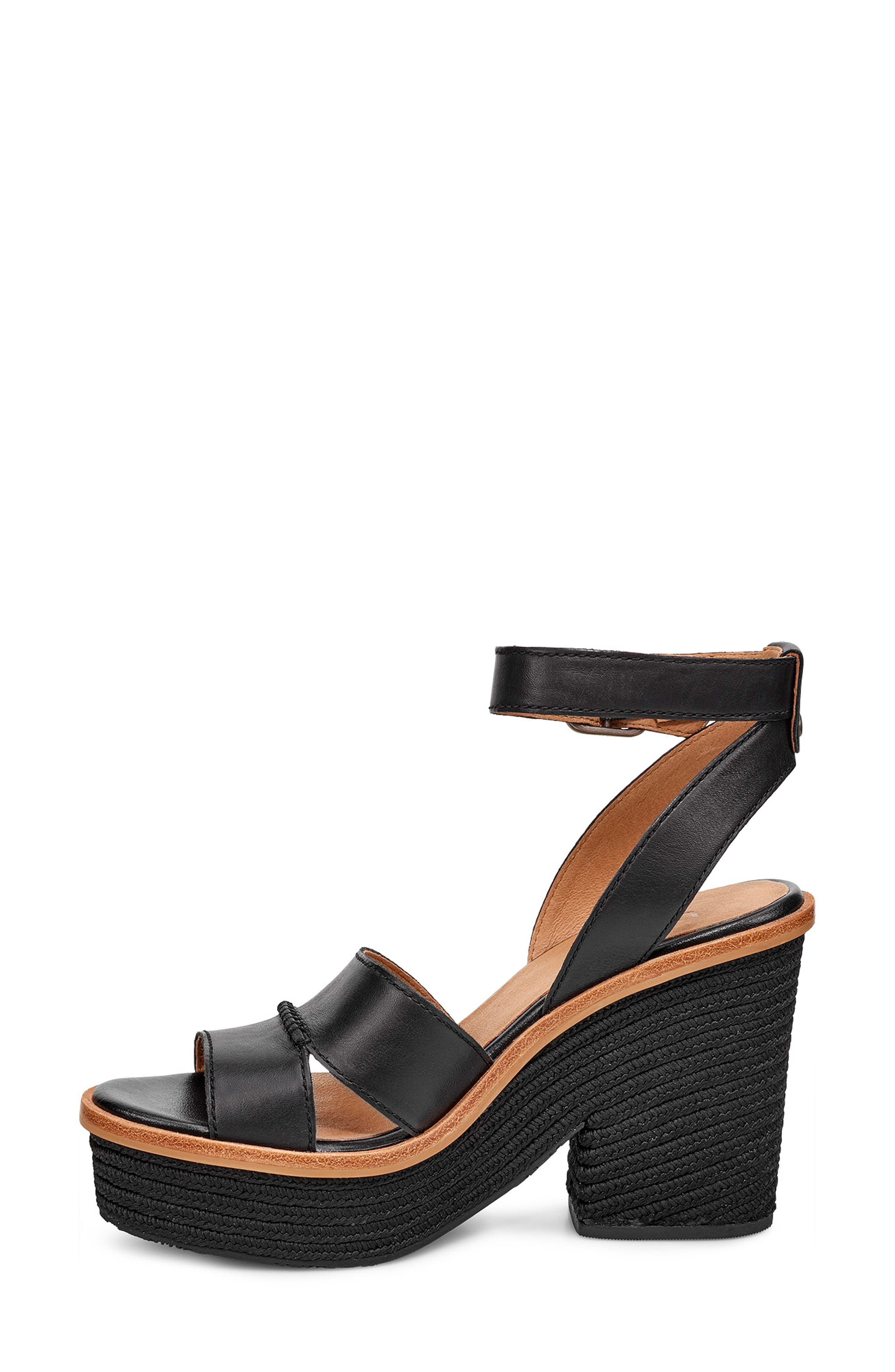 Carine Platform Sandal,                             Alternate thumbnail 6, color,                             BLACK LEATHER
