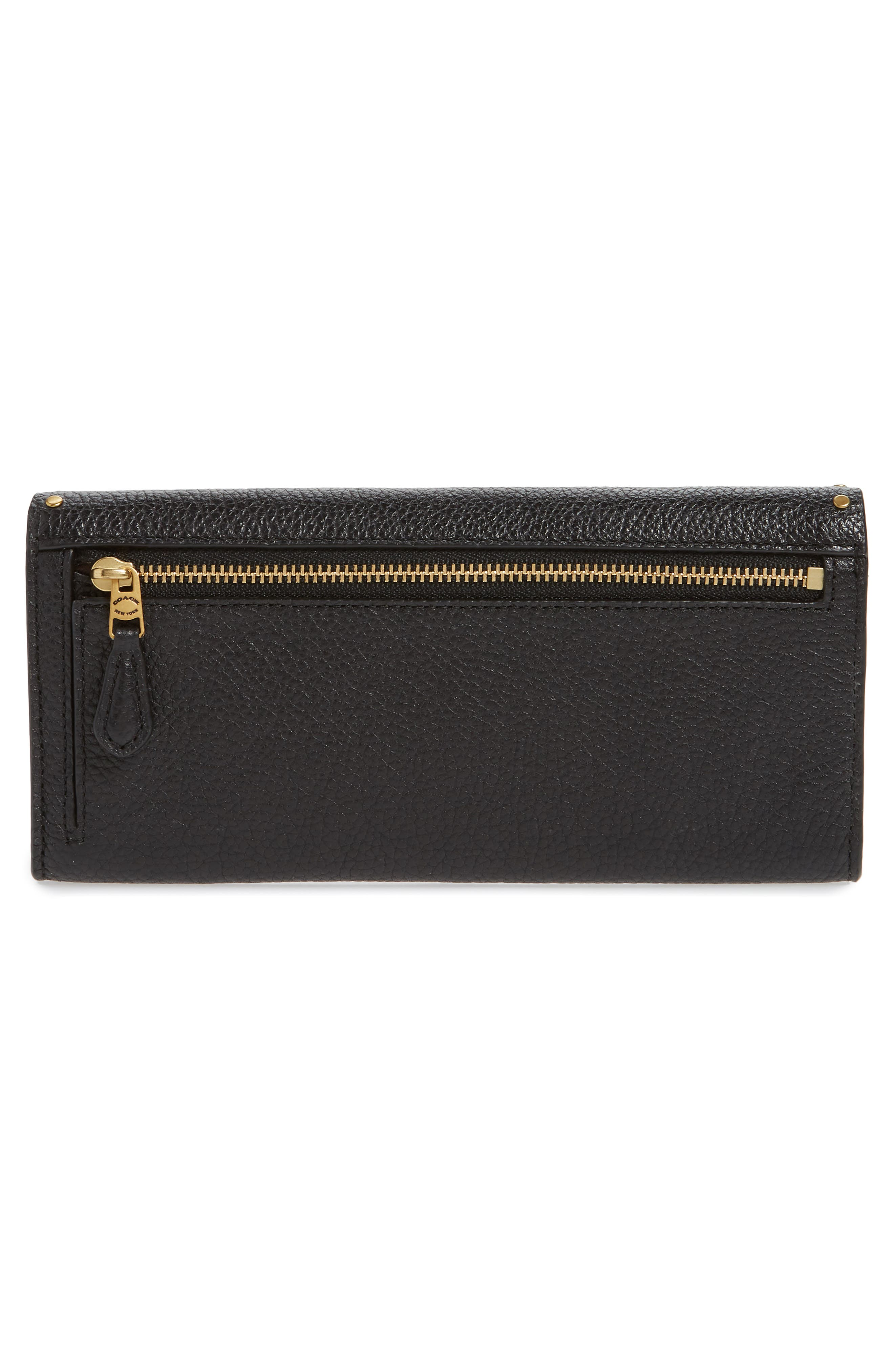 Soft Border Rivets Leather Envelope Wallet,                             Alternate thumbnail 3, color,                             BLACK