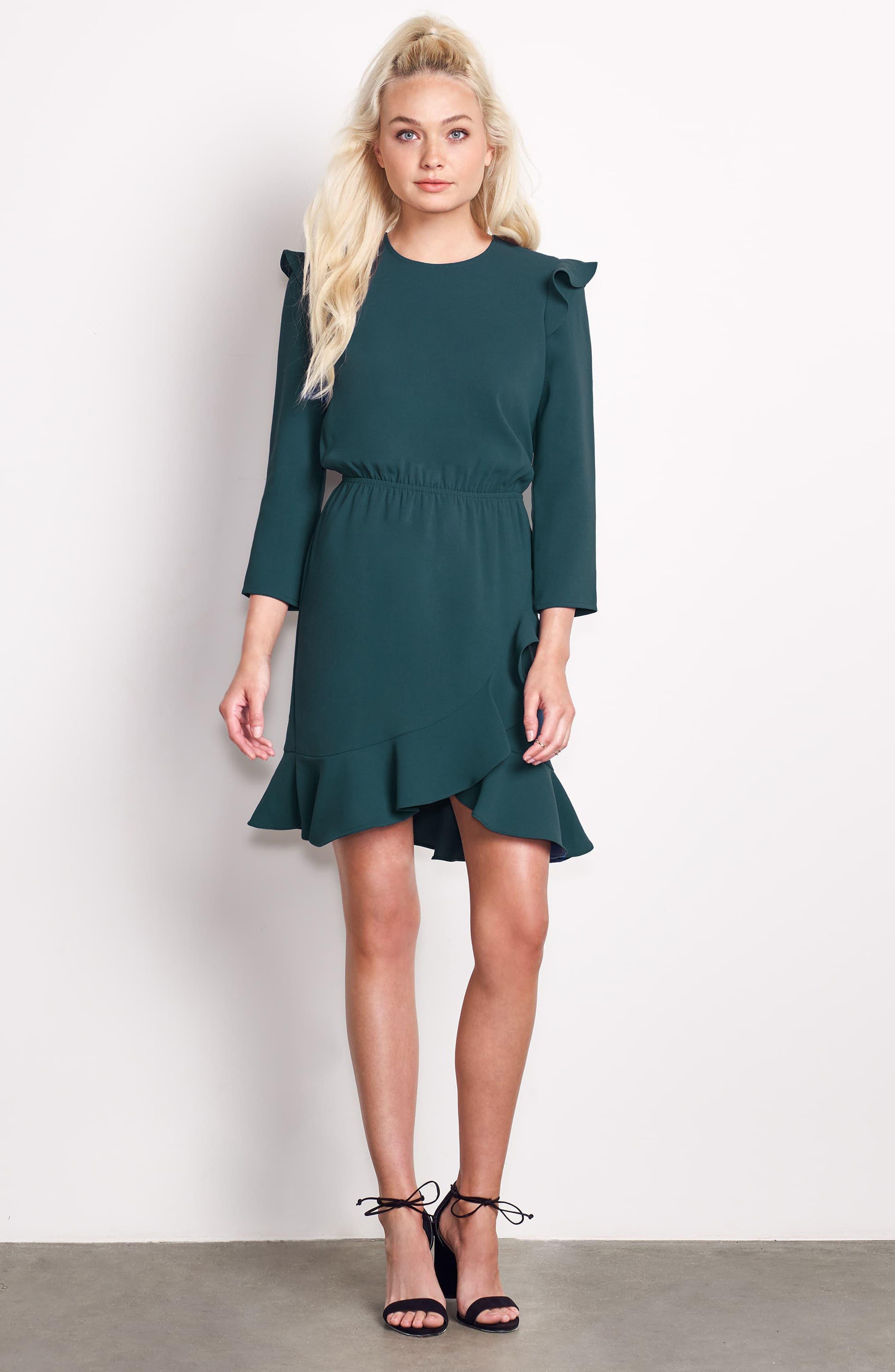 St Germain Ruffle Fit & Flare Dress,                             Alternate thumbnail 14, color,
