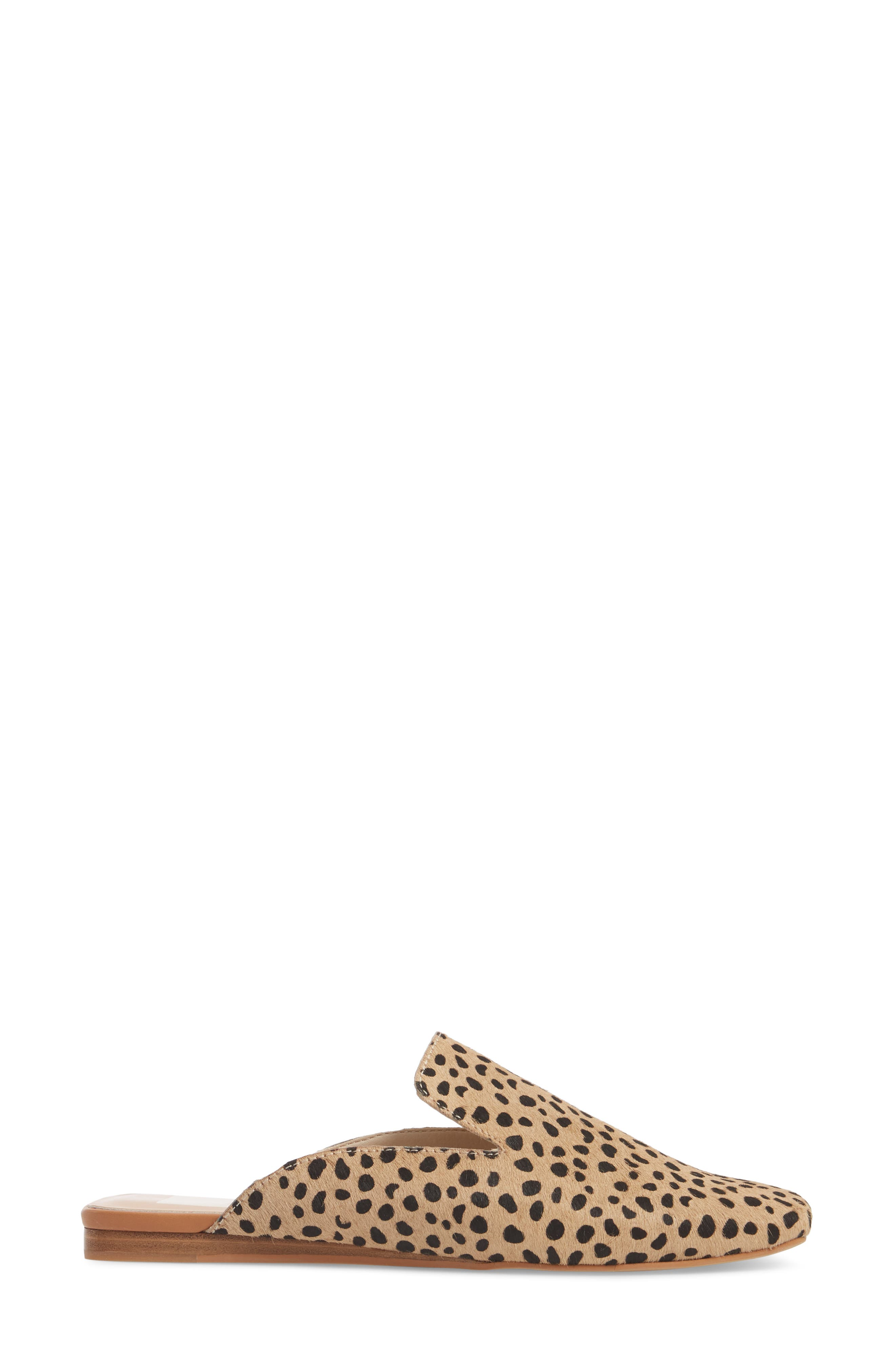 Brie Flat Mule,                             Alternate thumbnail 3, color,                             LEOPARD CALF HAIR