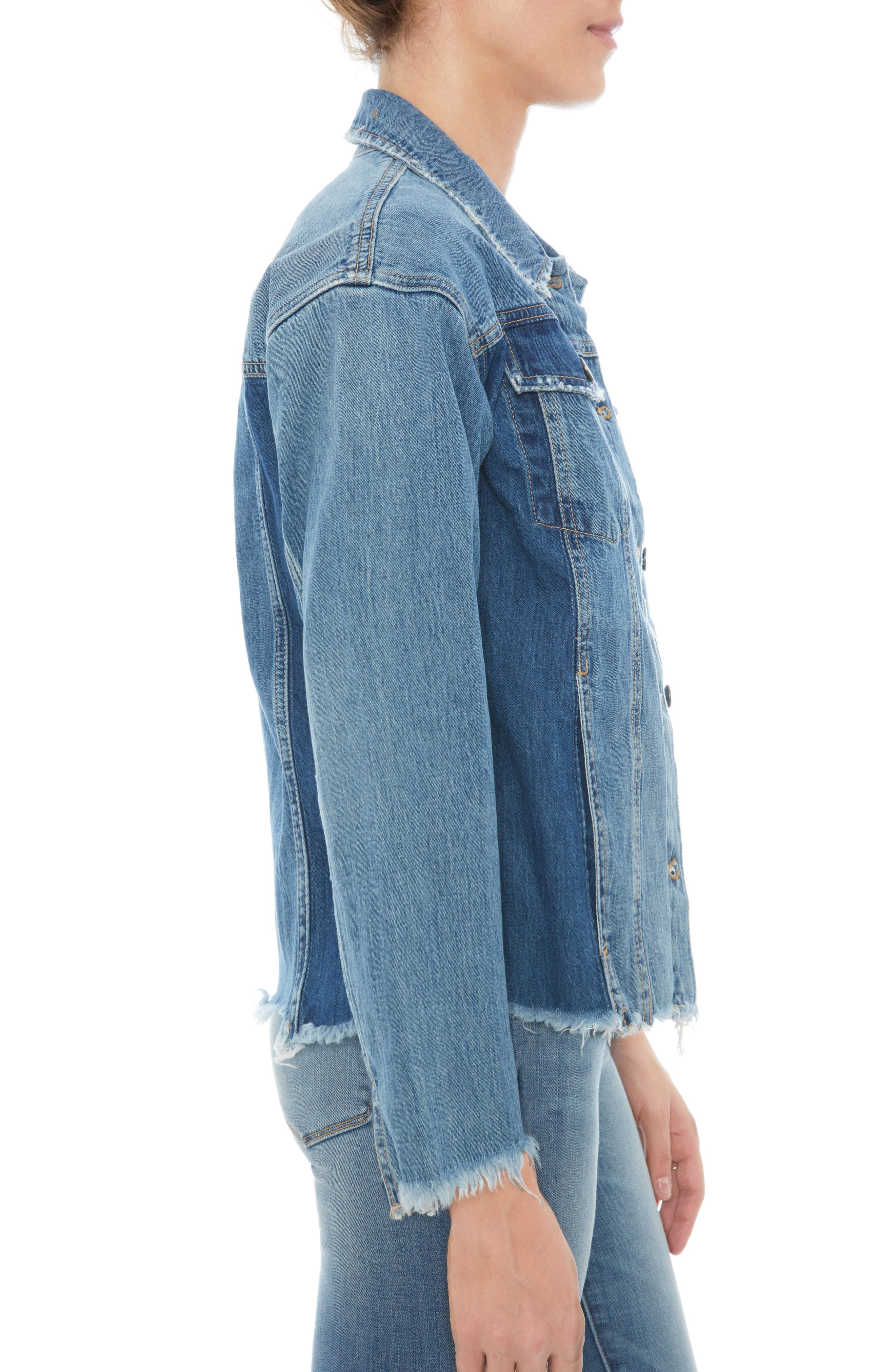 The Karlie Raw Edge Denim Jacket,                             Alternate thumbnail 3, color,                             410
