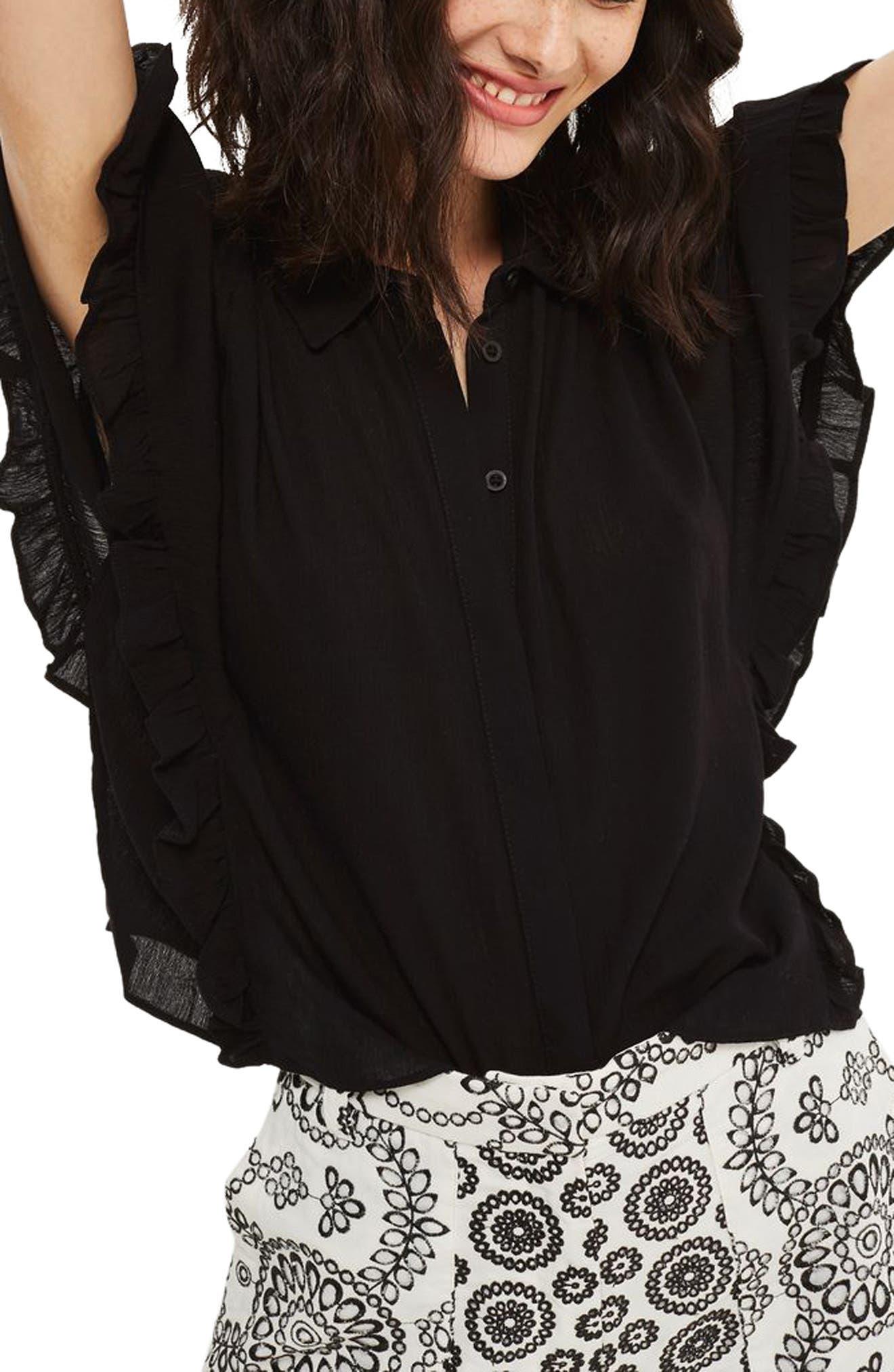 Katie Frill Sleeve Shirt,                         Main,                         color, 001