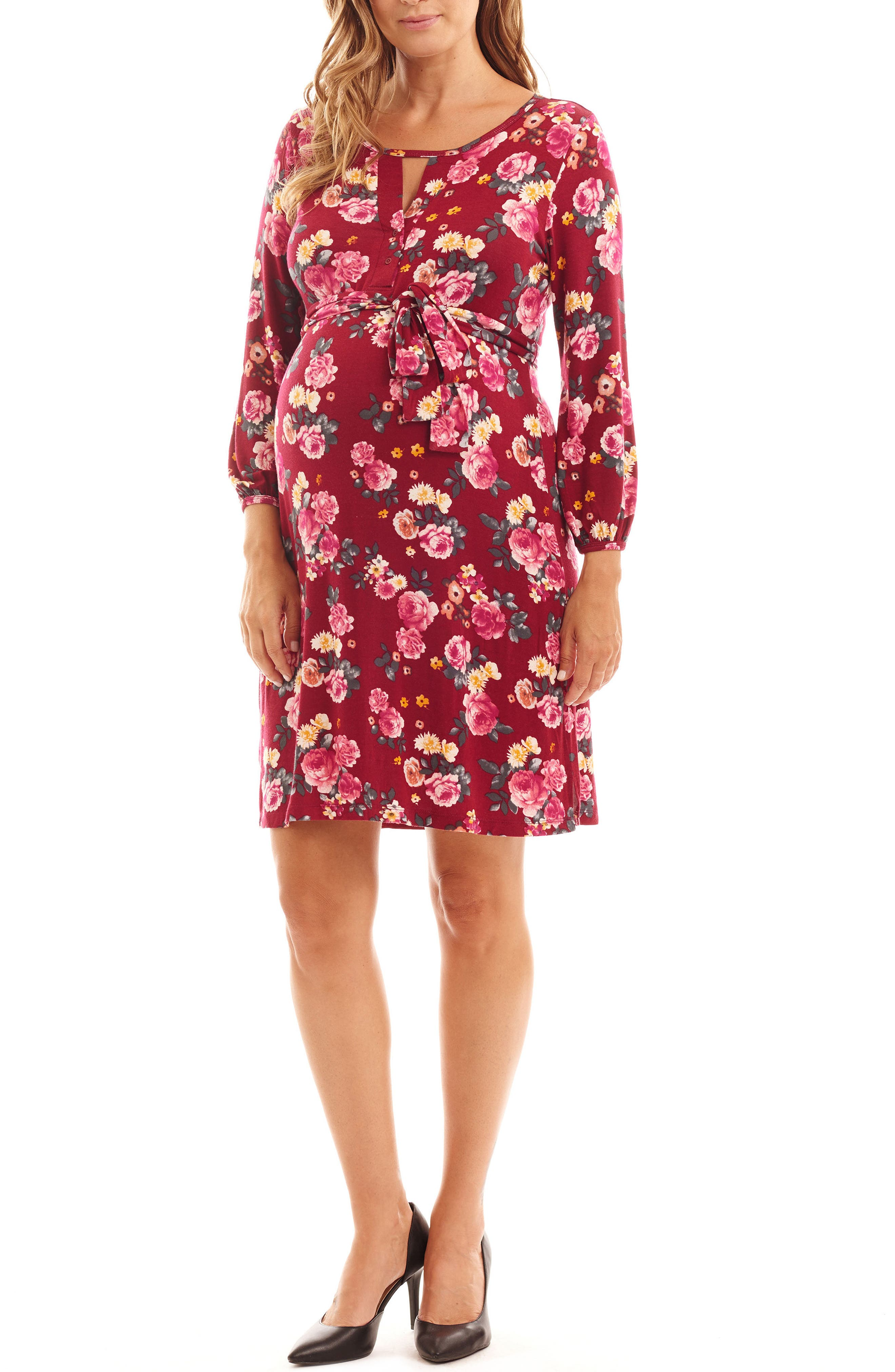 Lonni Maternity/Nursing Shirtdress,                             Alternate thumbnail 2, color,                             BURGUNDY FLORAL