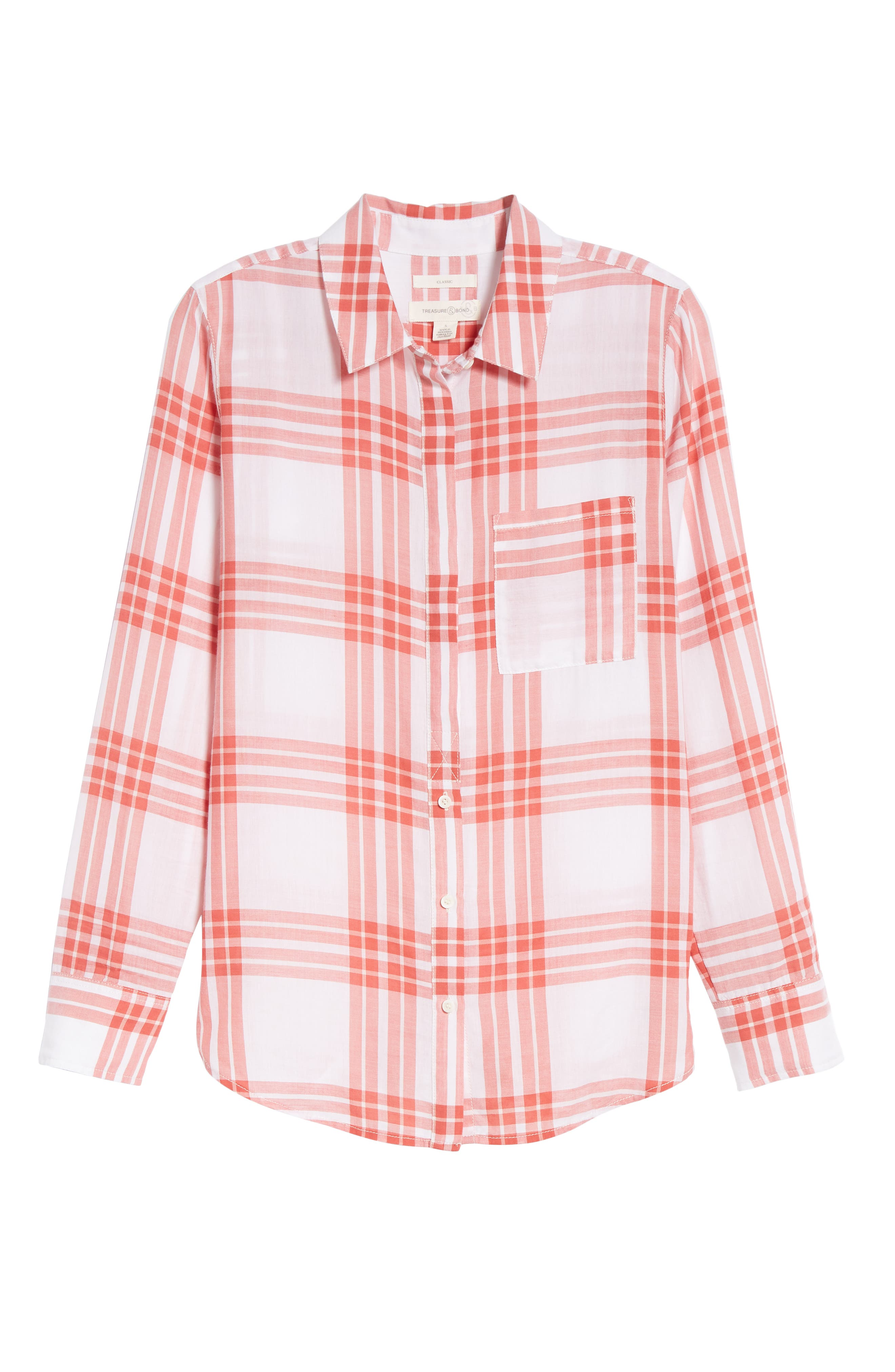 Classic Drapey Shirt,                             Alternate thumbnail 7, color,                             WHITE RED MINERAL REAR WINDOW
