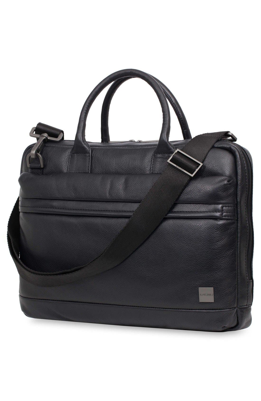 Barbican Foster Leather Briefcase,                             Alternate thumbnail 6, color,                             BLACK