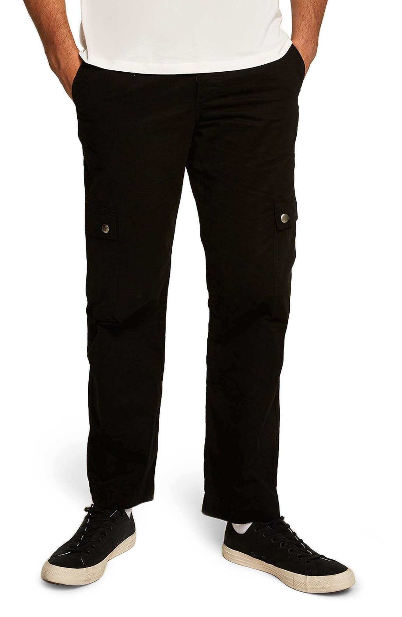 Straight Fit Cargo Trousers,                         Main,                         color, BLACK