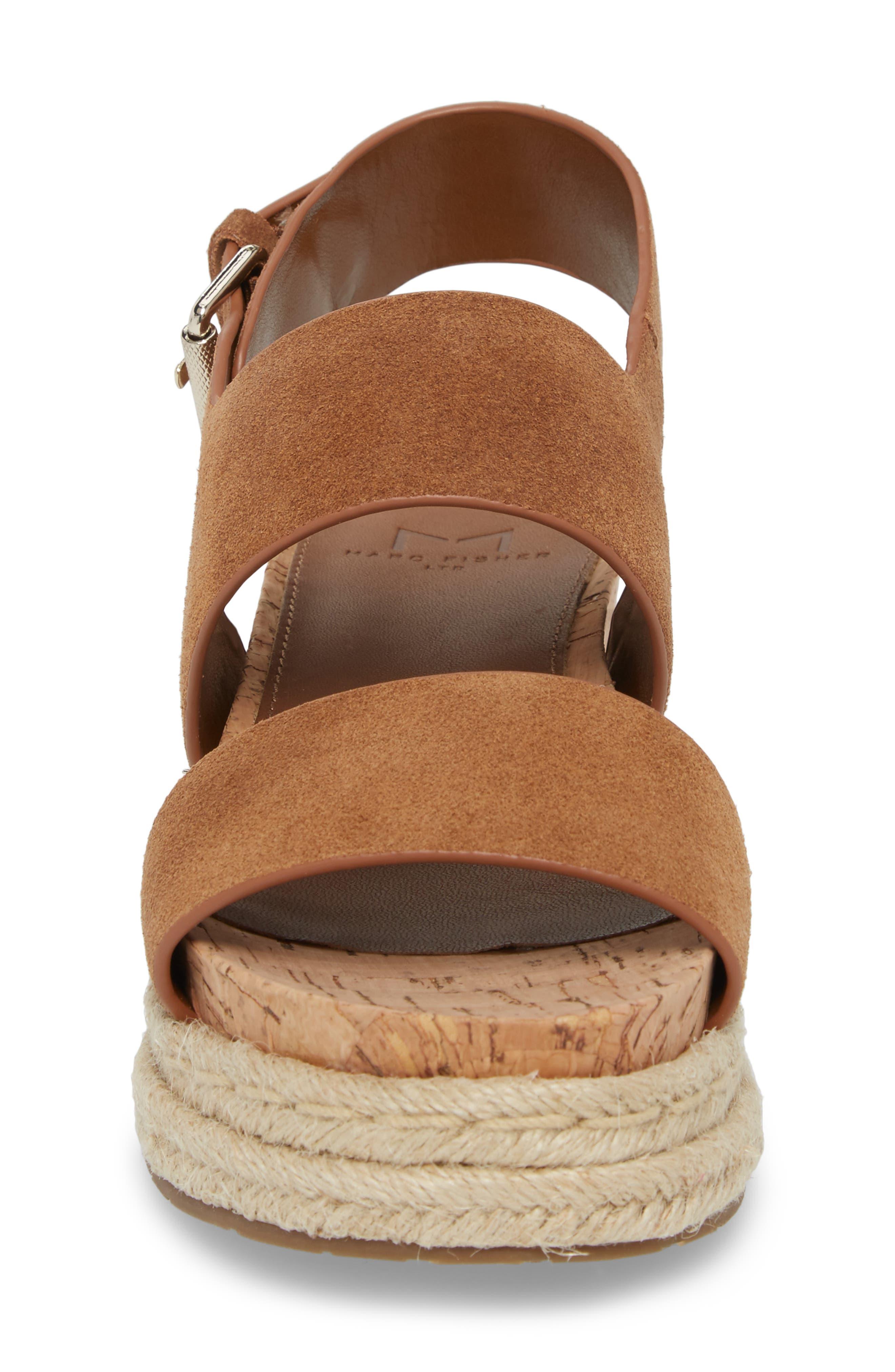 Oria Espadrille Platform Sandal,                             Alternate thumbnail 4, color,                             COGNAC SUEDE
