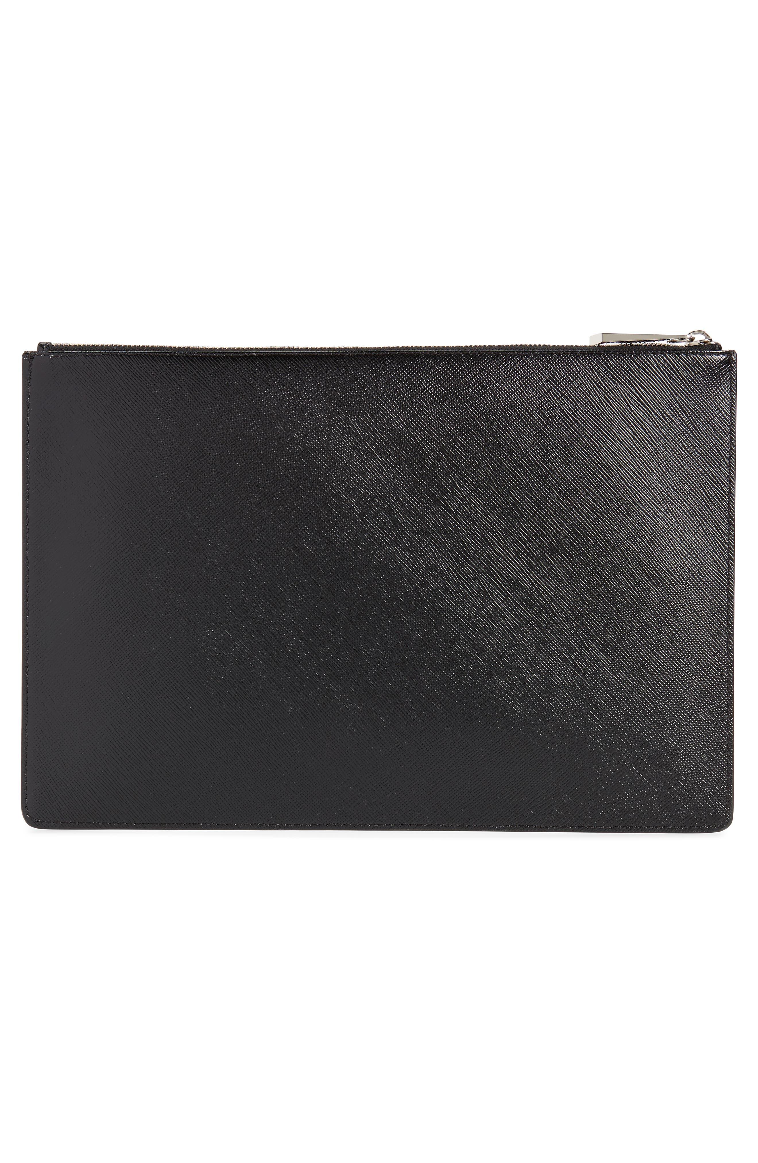 Medium Icon Faux Leather Print Pouch,                             Alternate thumbnail 3, color,                             BLACK