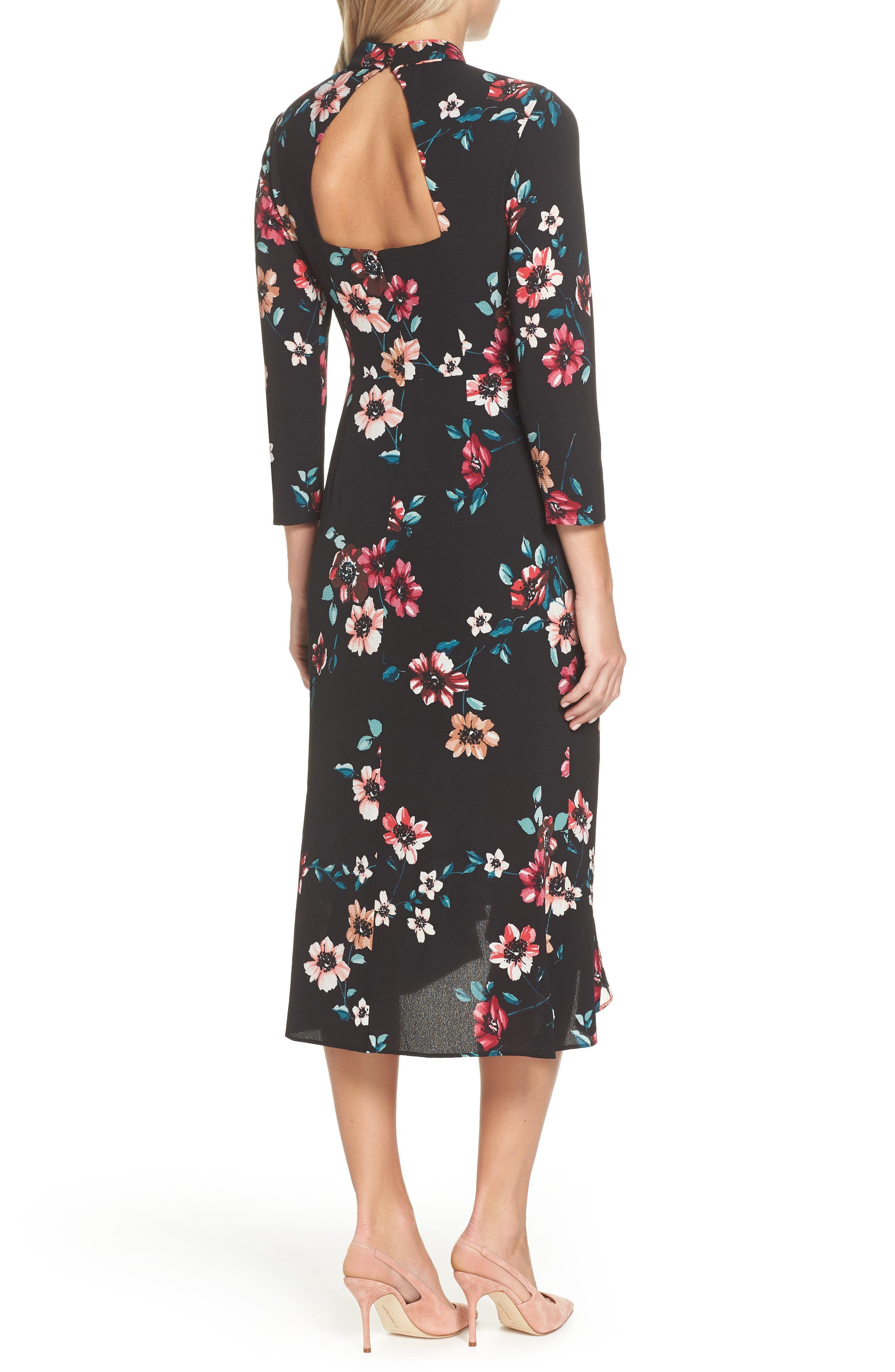 Floral Ruffle Midi Dress,                             Alternate thumbnail 2, color,                             001