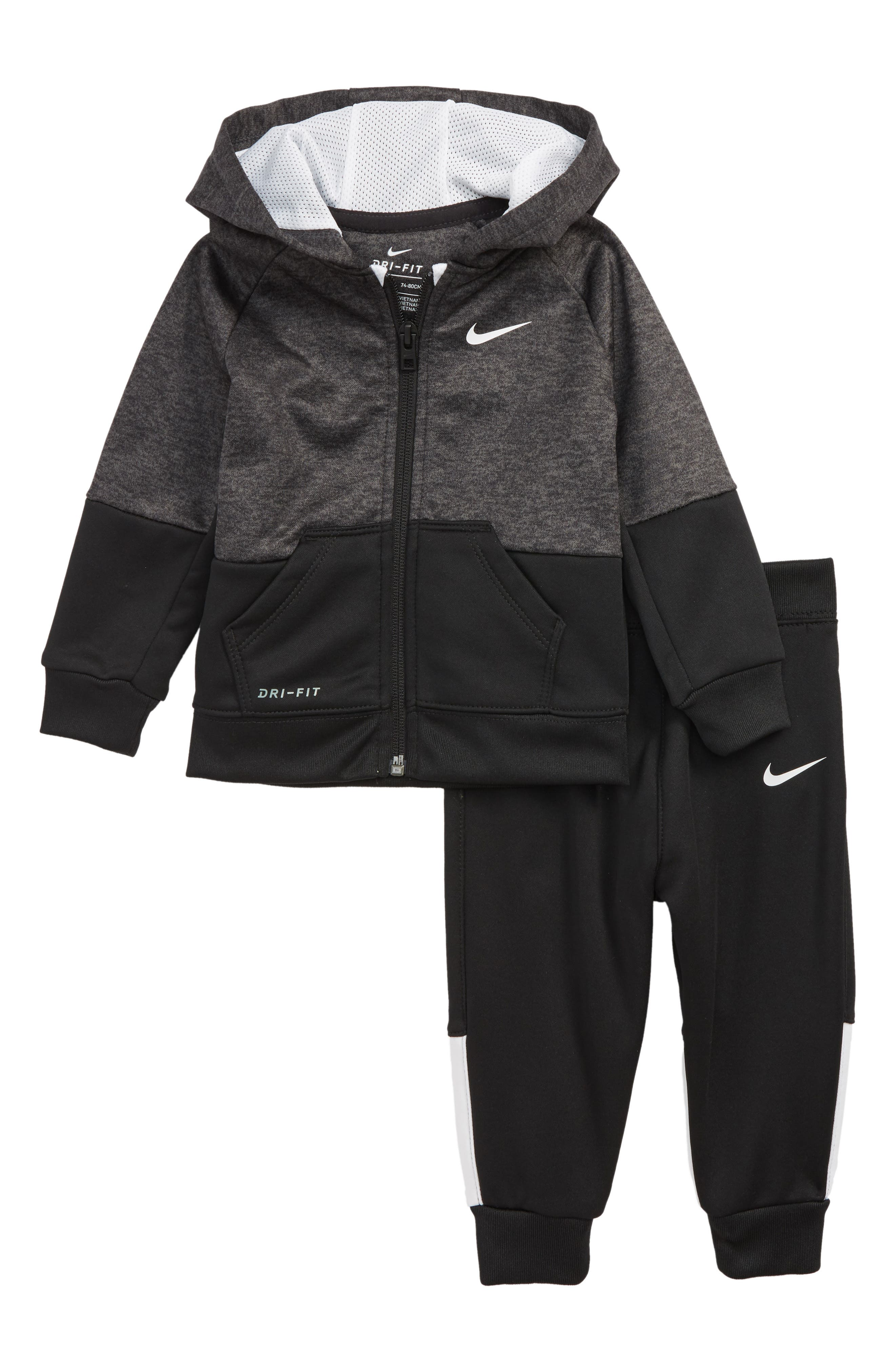 Speckle Dry Zip Hoodie & Pants Set,                             Main thumbnail 1, color,                             BLACK