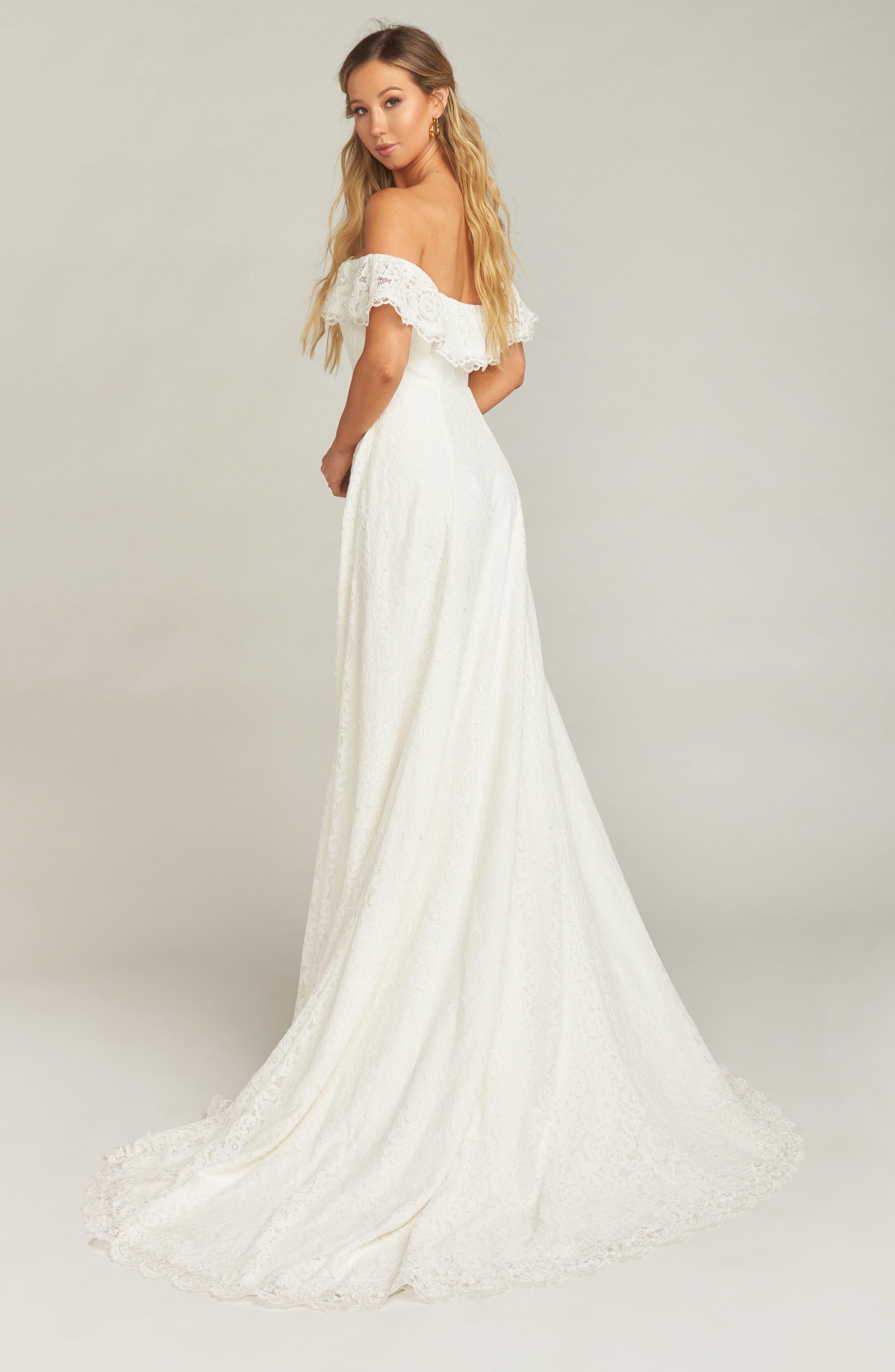Karolina Off the Shoulder Lace Wedding Dress,                             Alternate thumbnail 3, color,                             WHITE