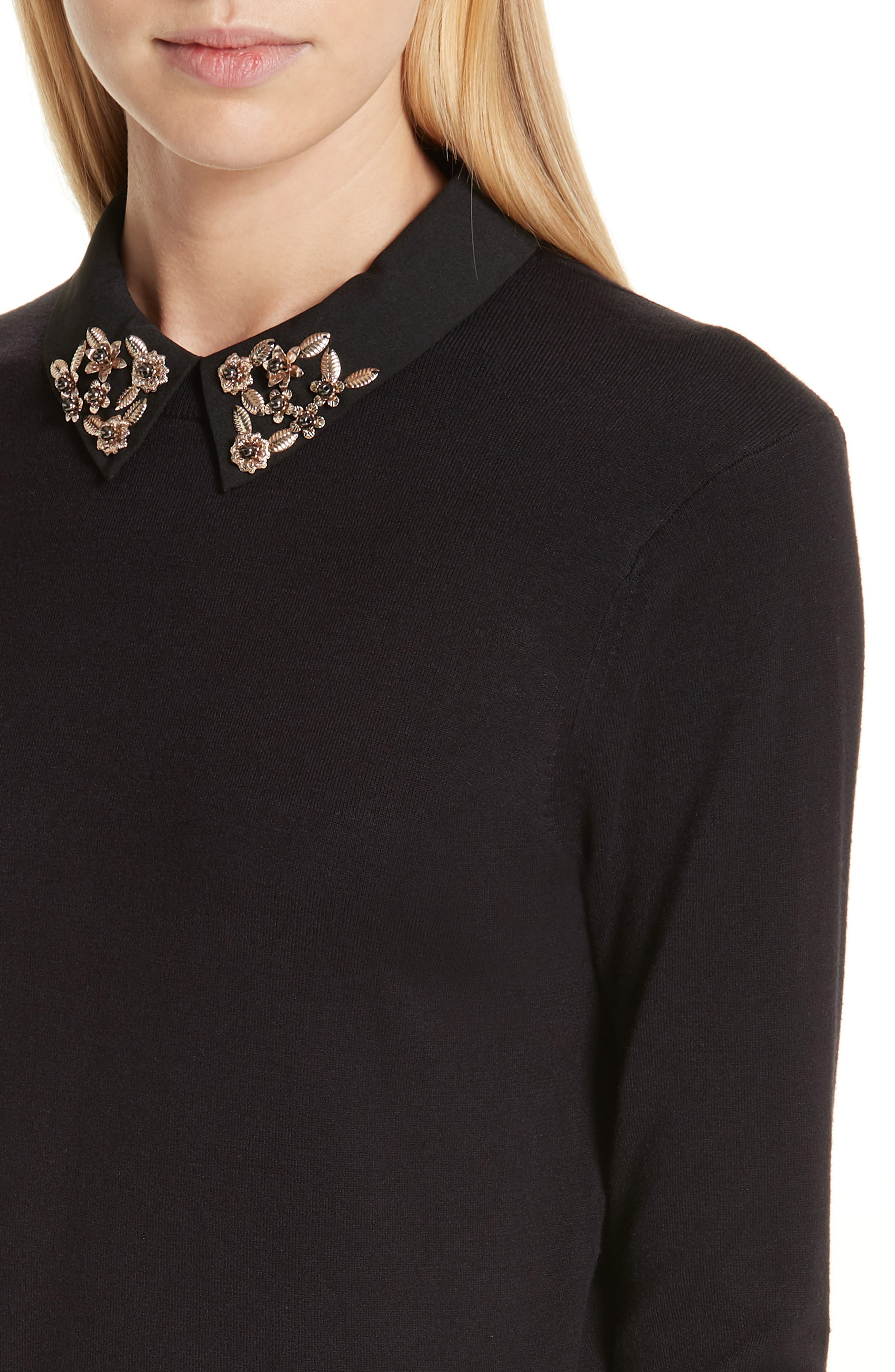 Moliiee Embroidered Collar Sweater,                             Alternate thumbnail 4, color,                             BLACK