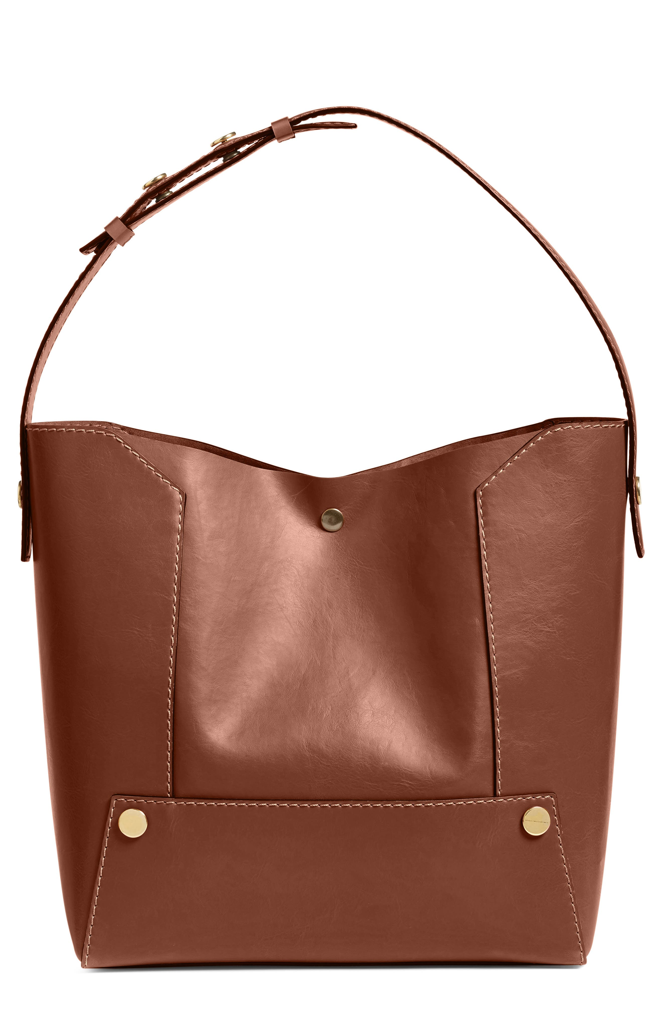 Popper Faux Leather Bucket Bag,                             Main thumbnail 1, color,                             217