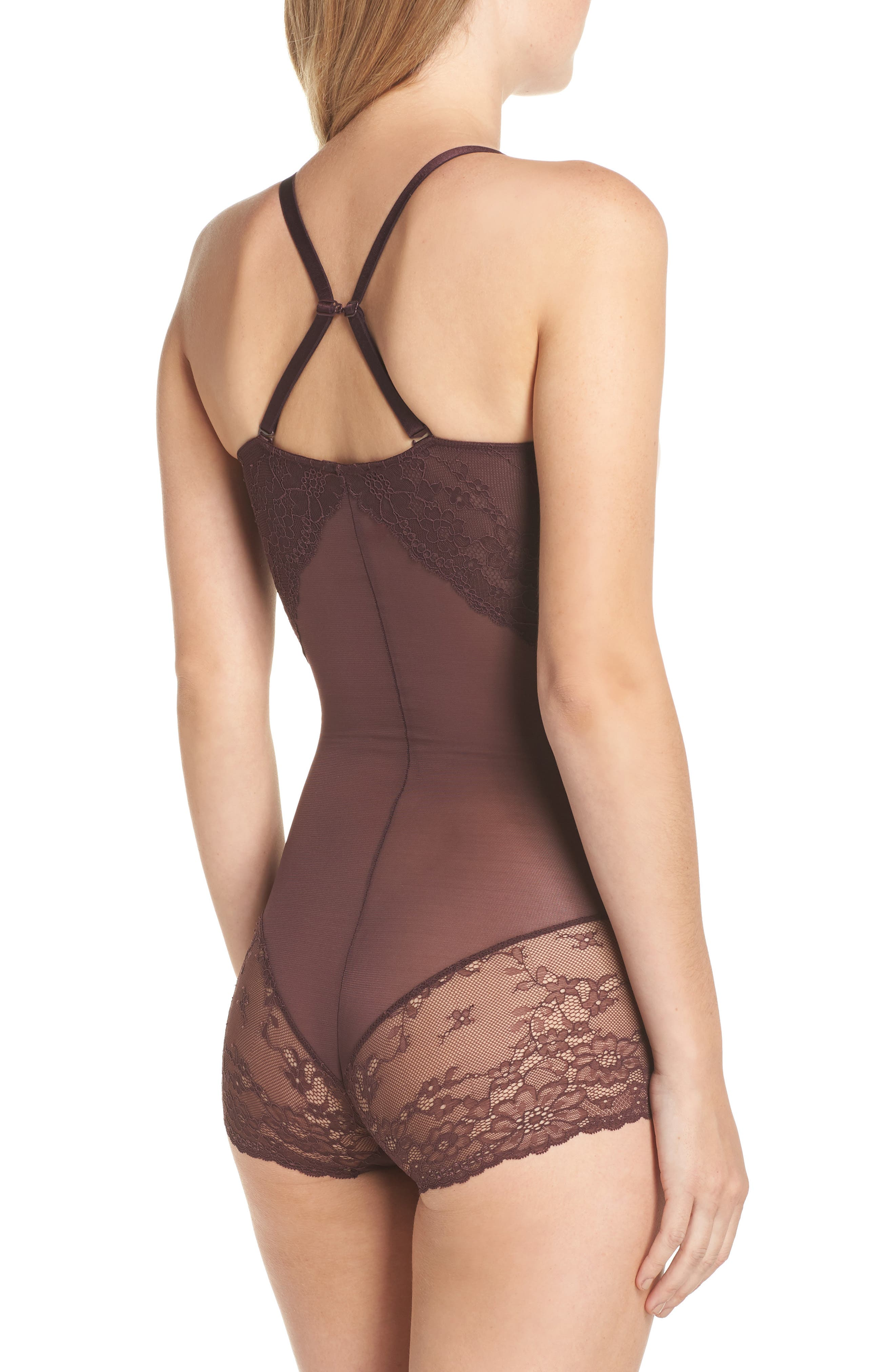 Spotlight On Lace Bodysuit,                             Alternate thumbnail 2, color,                             GARNET
