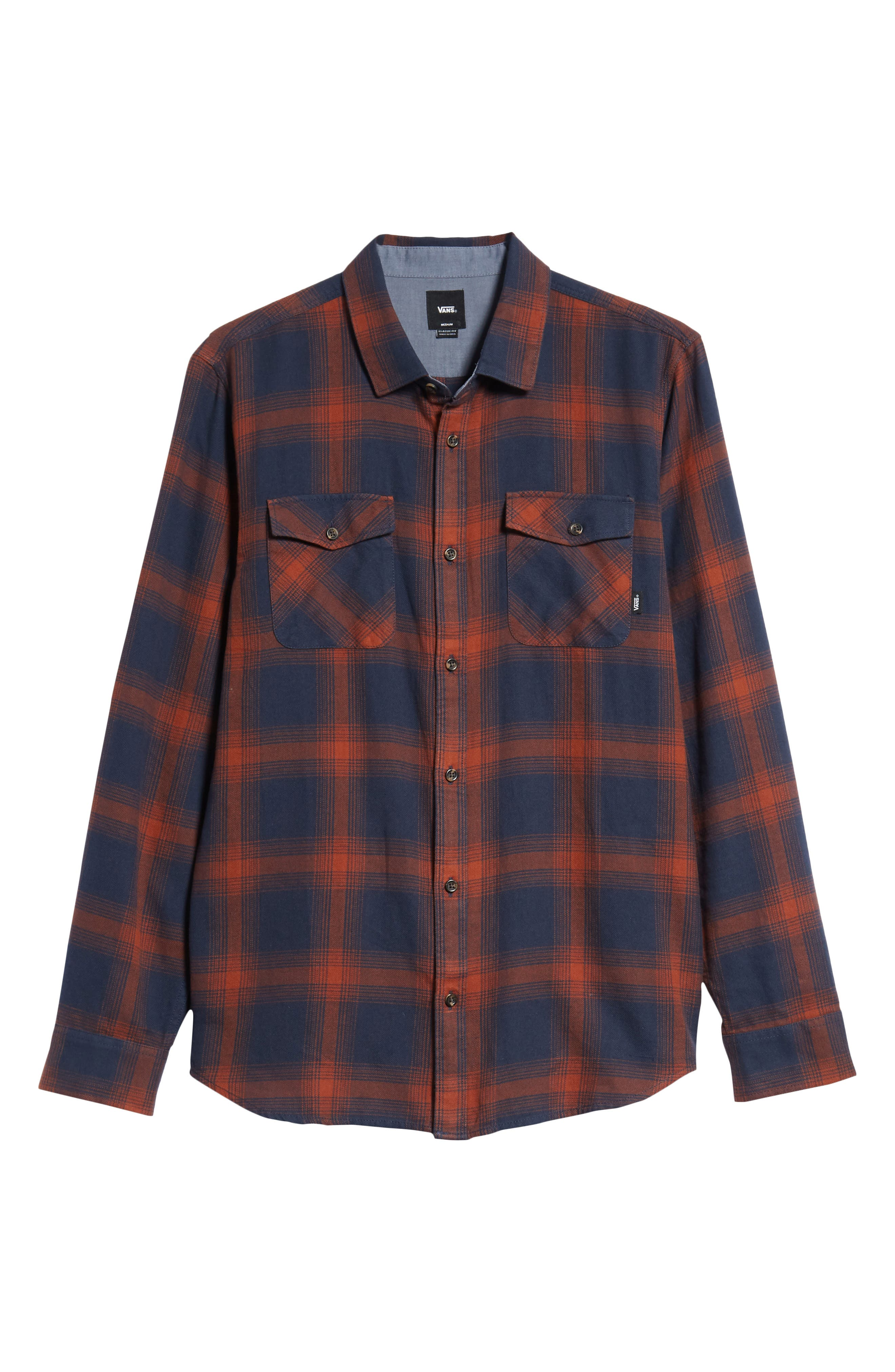 Monterey III Plaid Flannel Shirt,                             Alternate thumbnail 5, color,                             DRESS BLUES/ SEQUOIA