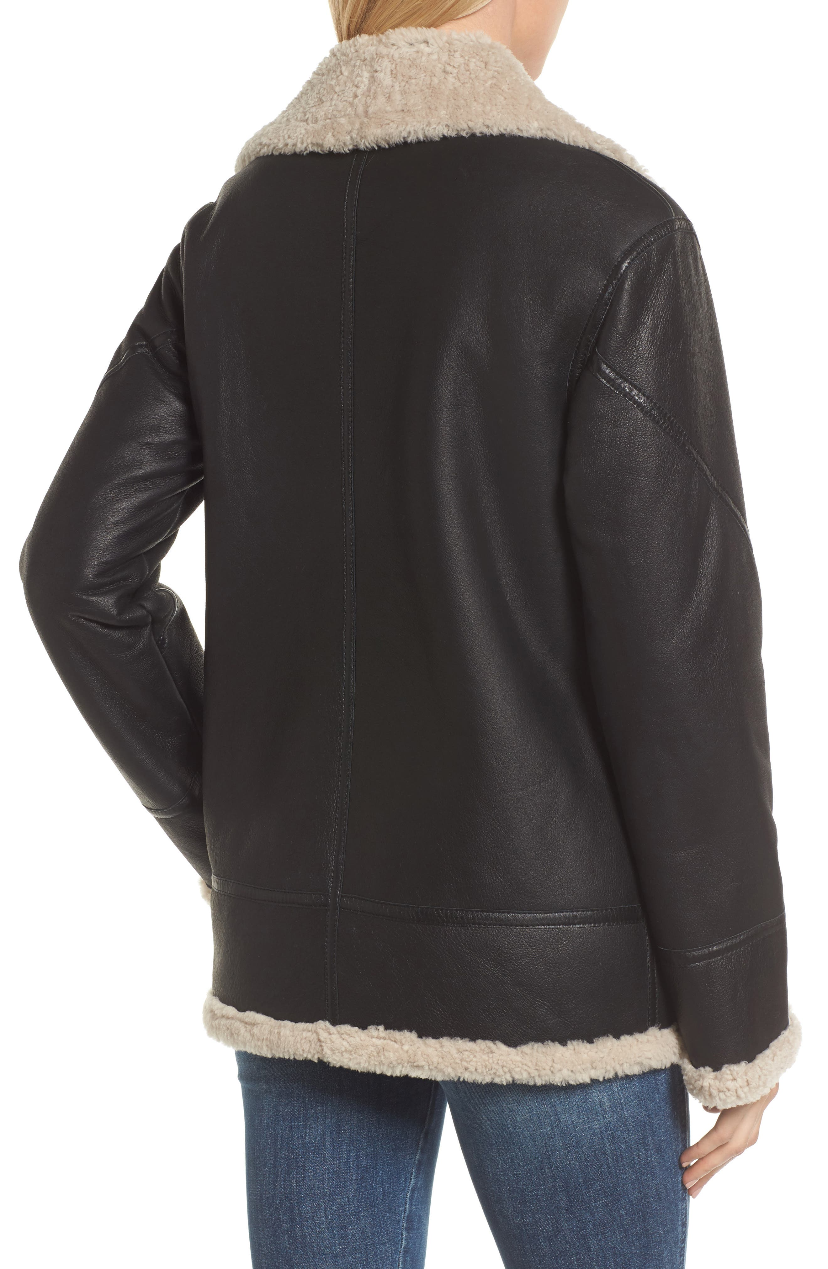Genuine Shearling Aviator Jacket,                             Alternate thumbnail 2, color,                             001