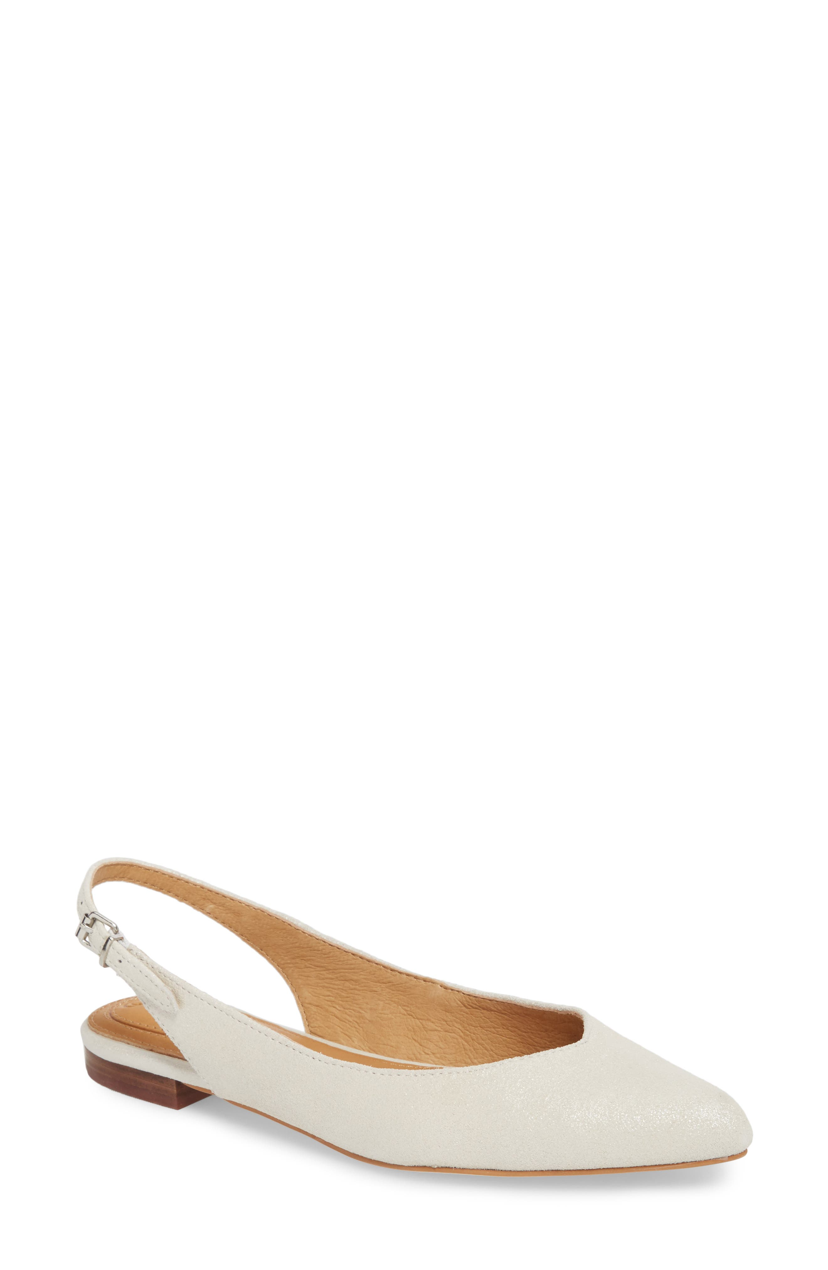 Jackey Slingback Flat,                         Main,                         color, PLATINUM LEATHER