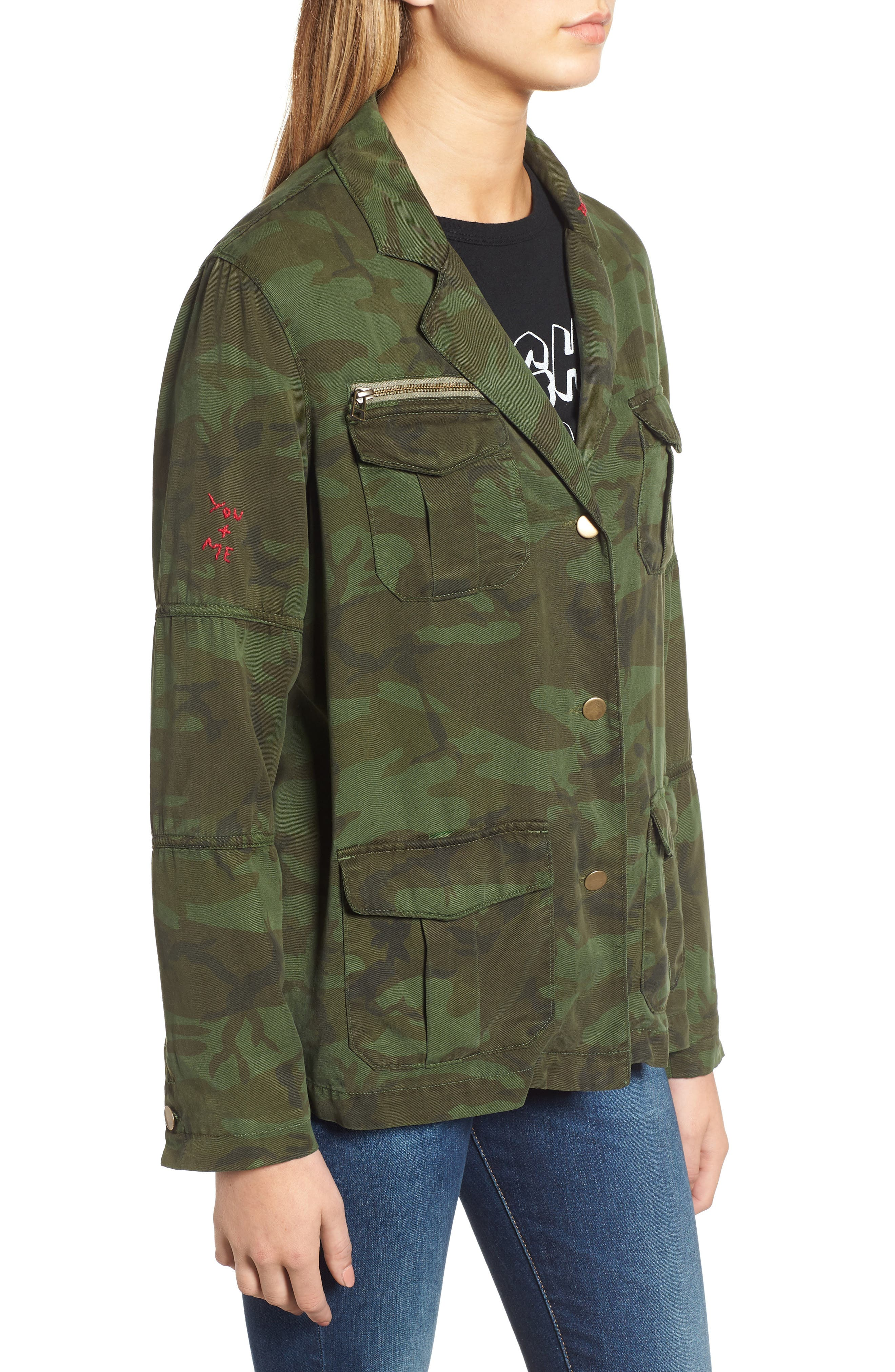 Contrast Cuff Camo Jacket,                             Alternate thumbnail 3, color,                             ARMY CAMO