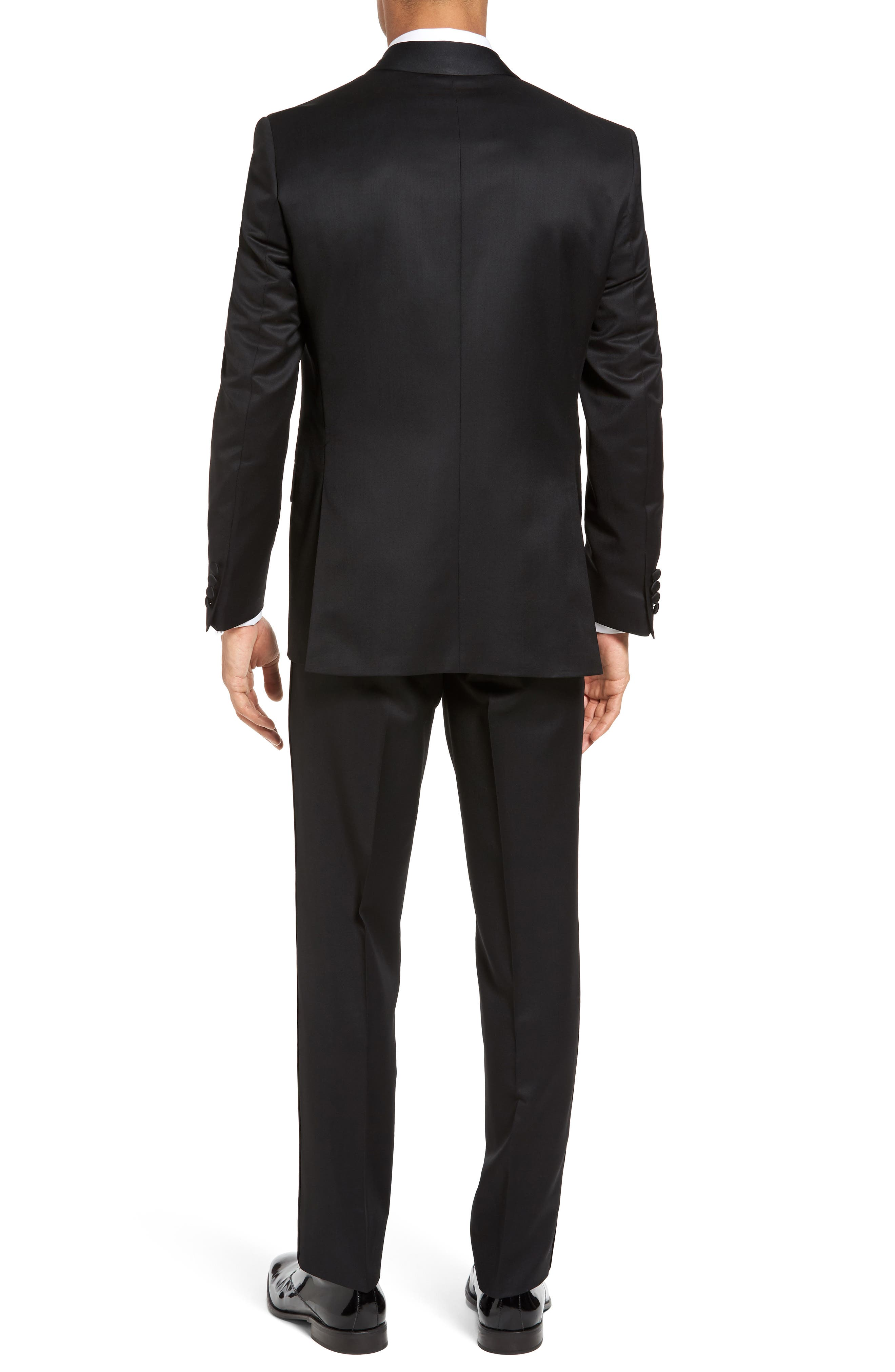 Josh Trim Fit Wool & Mohair Tuxedo,                             Alternate thumbnail 2, color,                             BLACK
