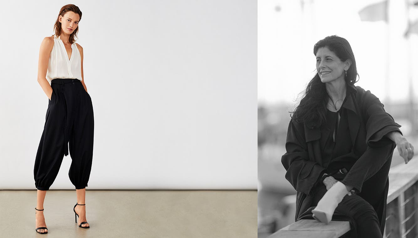 At left, Nili Lotan clothing. At right, designer Nili Lotan.